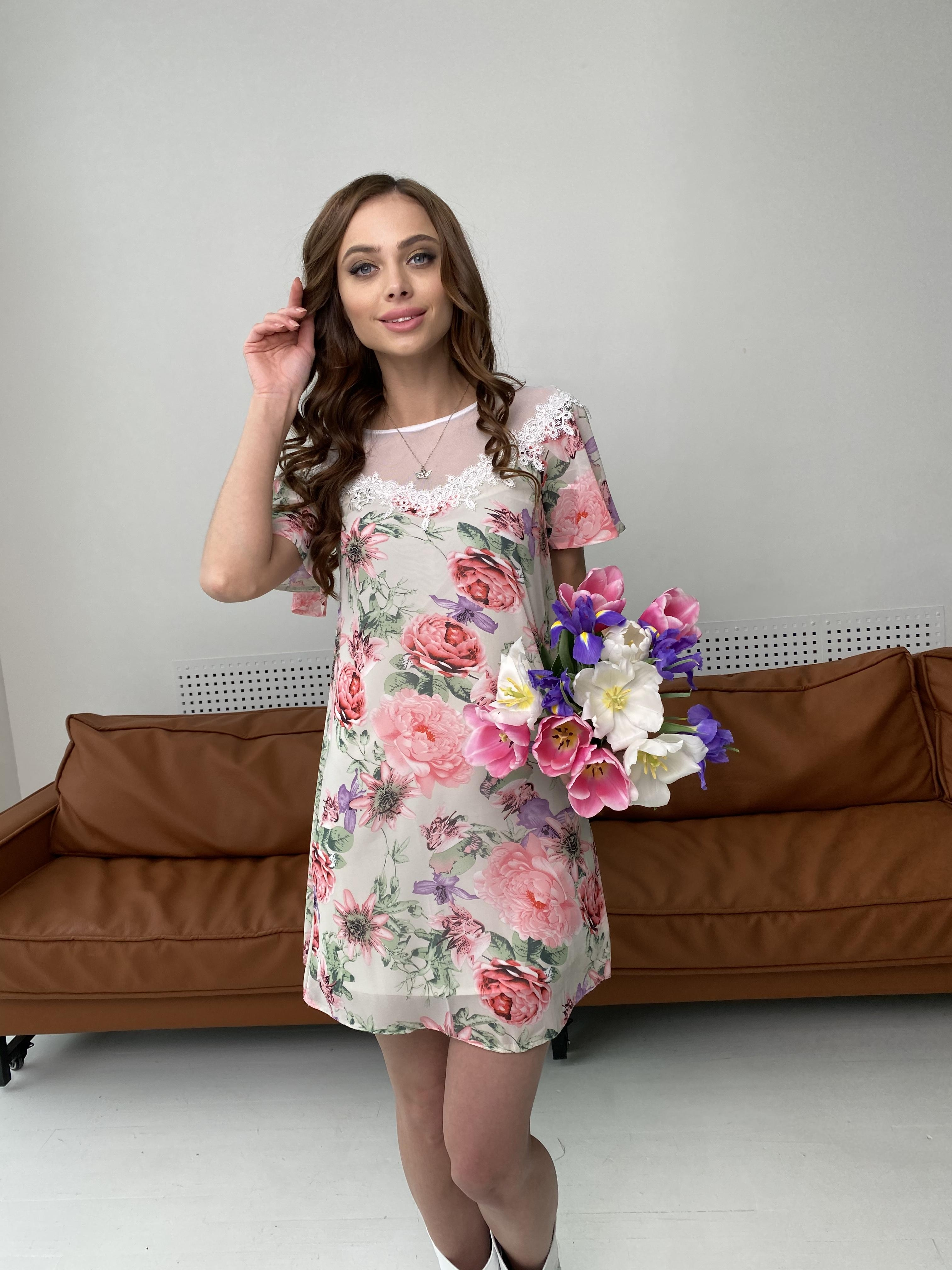 Эри платье из шифона с принтом 7136 АРТ. 42800 Цвет: Цветы комби беж - фото 2, интернет магазин tm-modus.ru