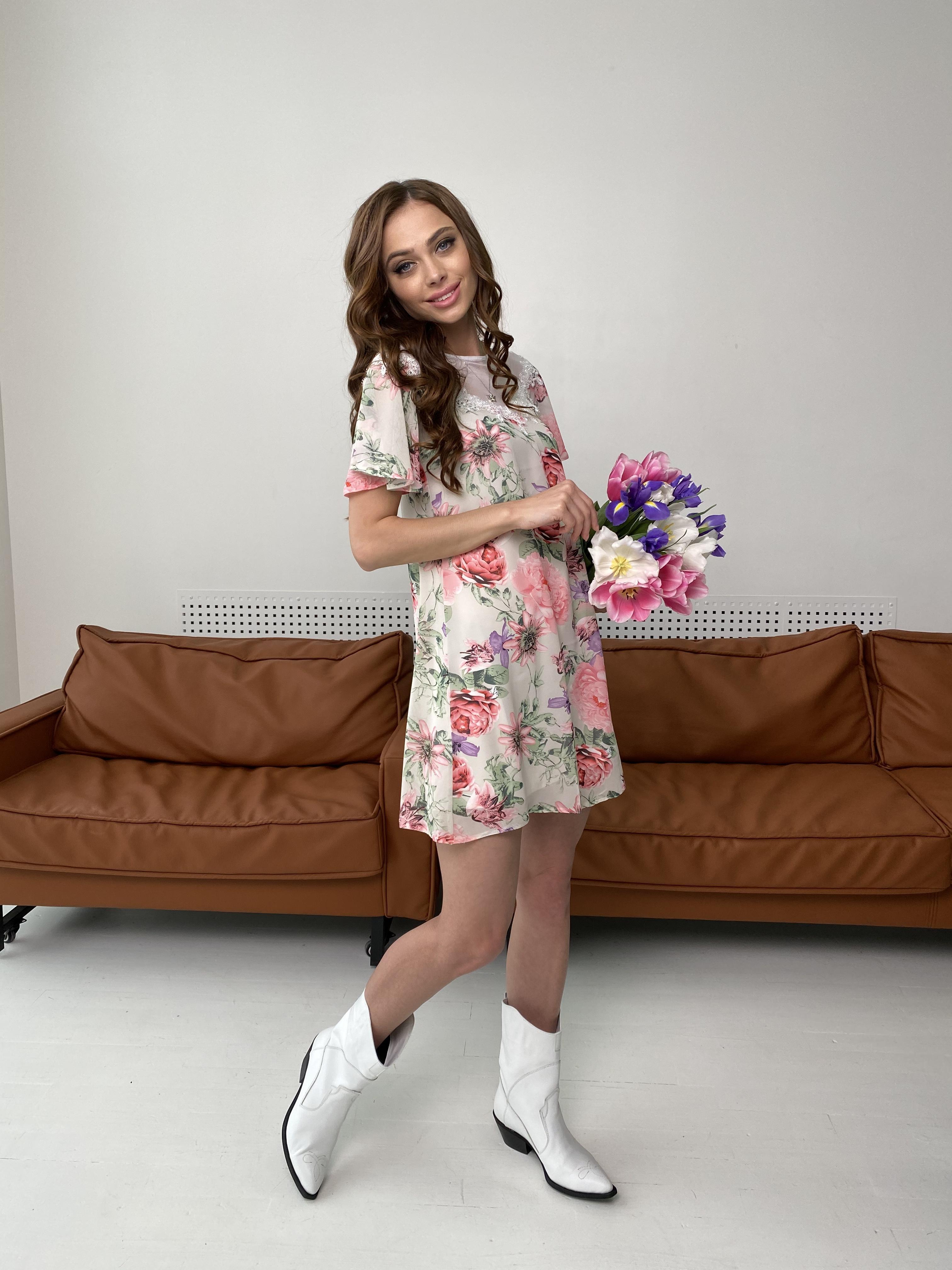 Эри платье из шифона с принтом 7136 АРТ. 42800 Цвет: Цветы комби беж - фото 3, интернет магазин tm-modus.ru