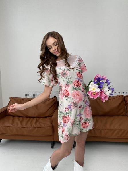 Эри платье из шифона с принтом 7136 Цвет: Цветы комби беж