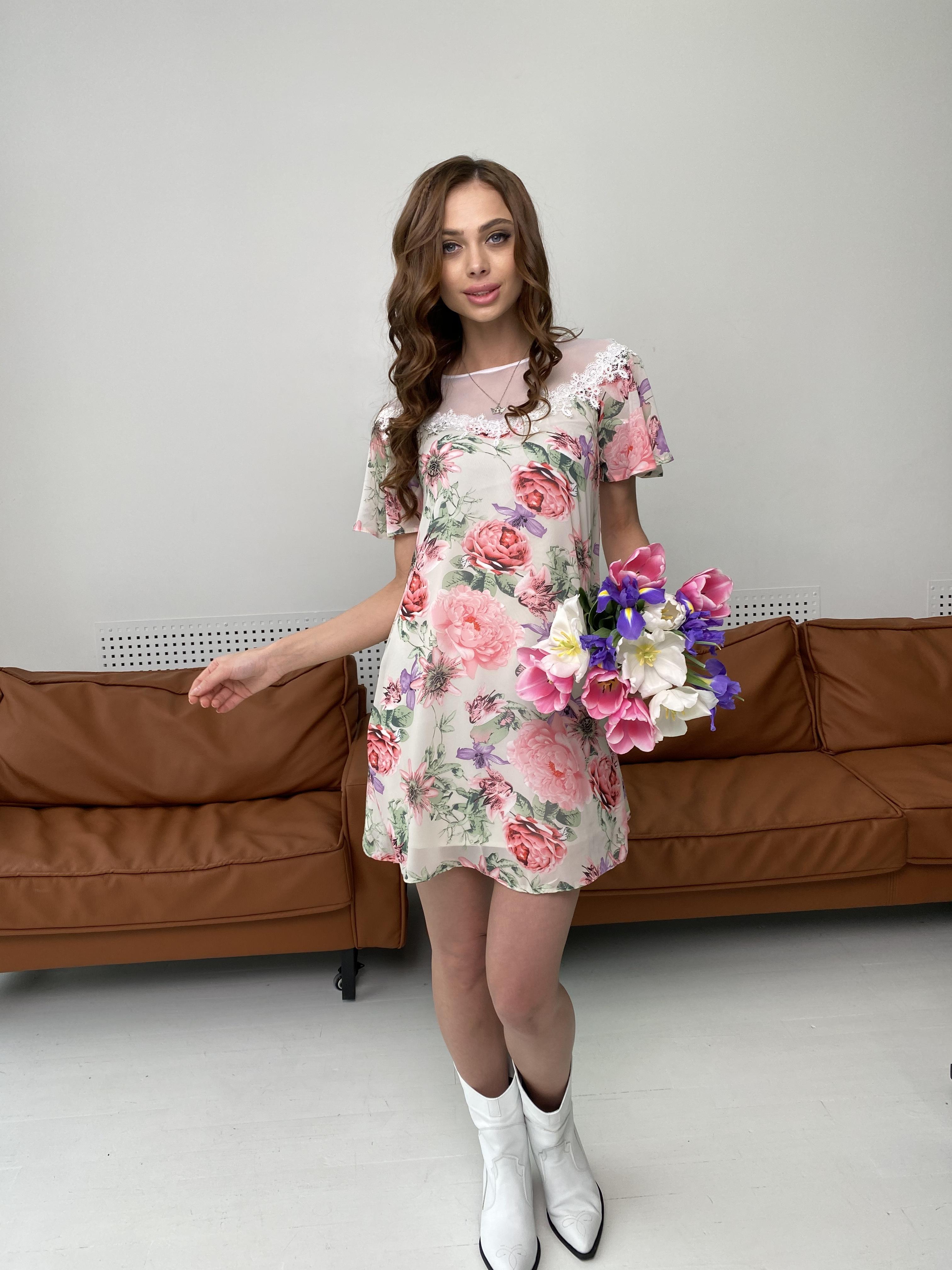 Эри платье из шифона с принтом 7136 АРТ. 42800 Цвет: Цветы комби беж - фото 5, интернет магазин tm-modus.ru