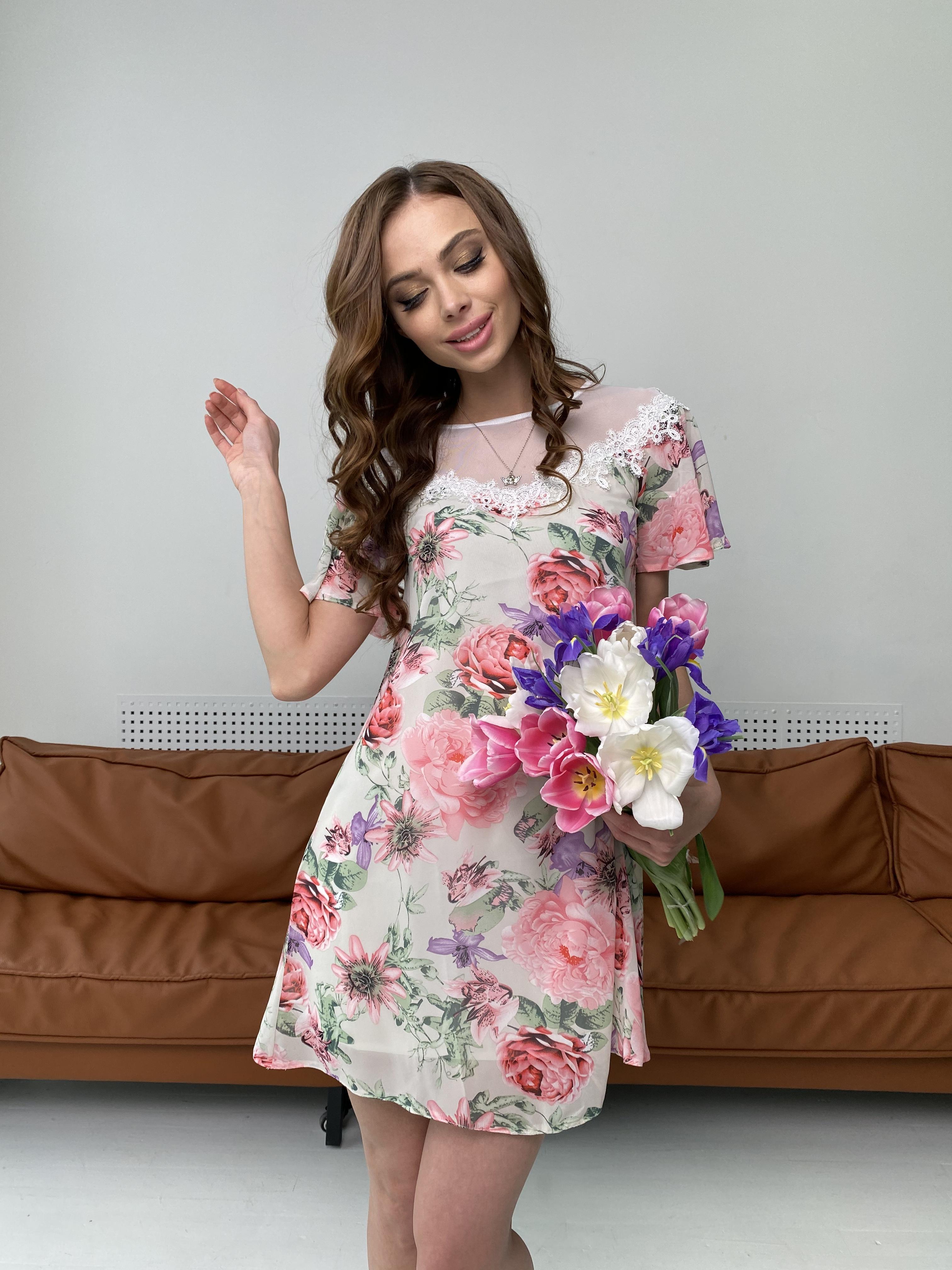 Эри платье из шифона с принтом 7136 АРТ. 42800 Цвет: Цветы комби беж - фото 6, интернет магазин tm-modus.ru