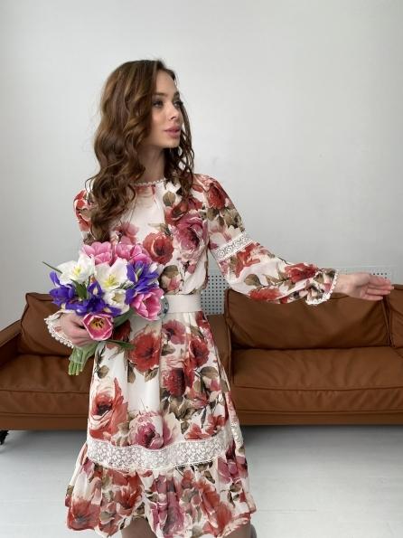 Санем платье из шифона 6587 Цвет: Розы молоко/коралл/молоко