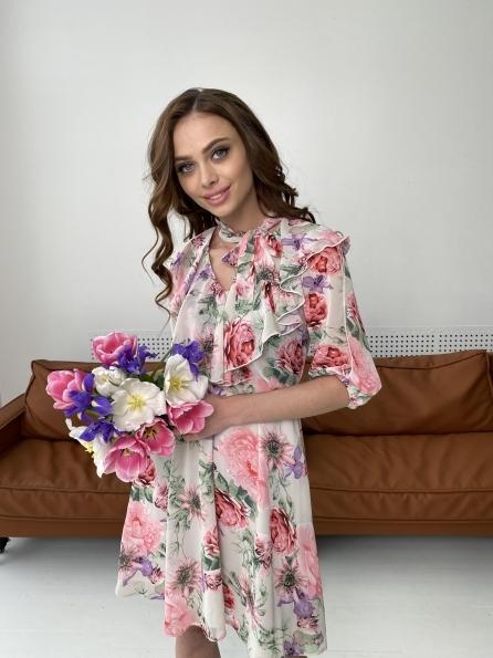 Блюз платье в леопардовый принт 7093 Цвет: Цветы комби беж