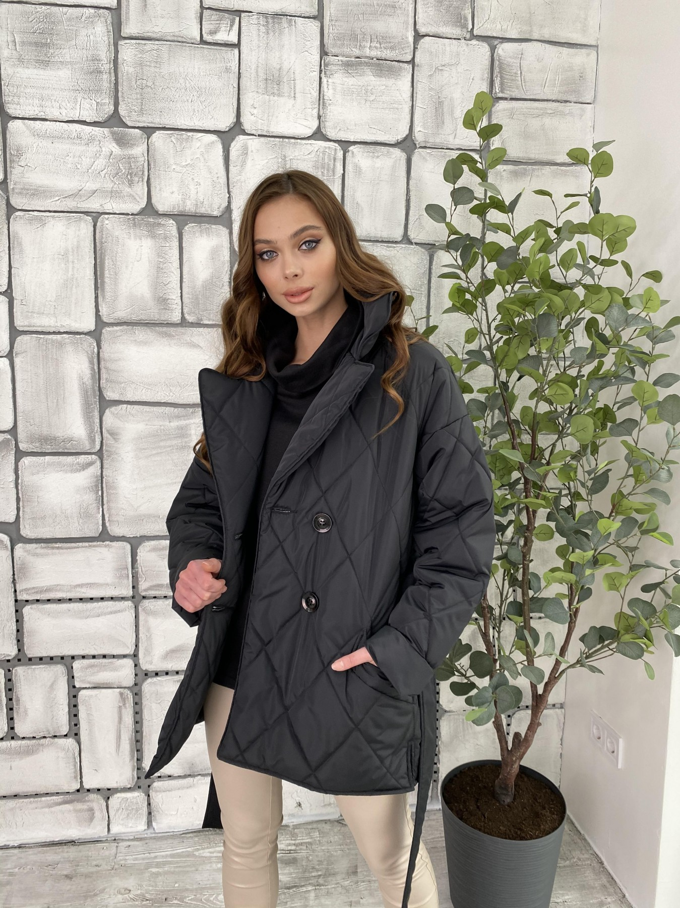 Норд куртка из плащевой ткани стеганая 10883 АРТ. 47354 Цвет: Черный - фото 5, интернет магазин tm-modus.ru