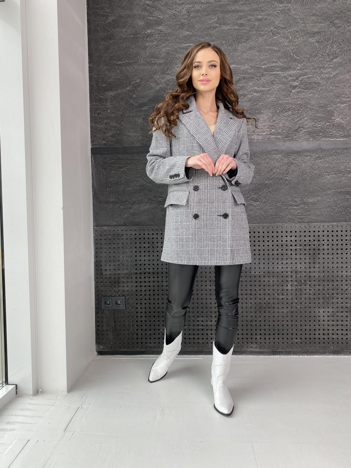 Лофтпальто-жакет из плотного трикотажа 10829 АРТ. 47310 Цвет: Клетка комби, Серый - фото 3, интернет магазин tm-modus.ru