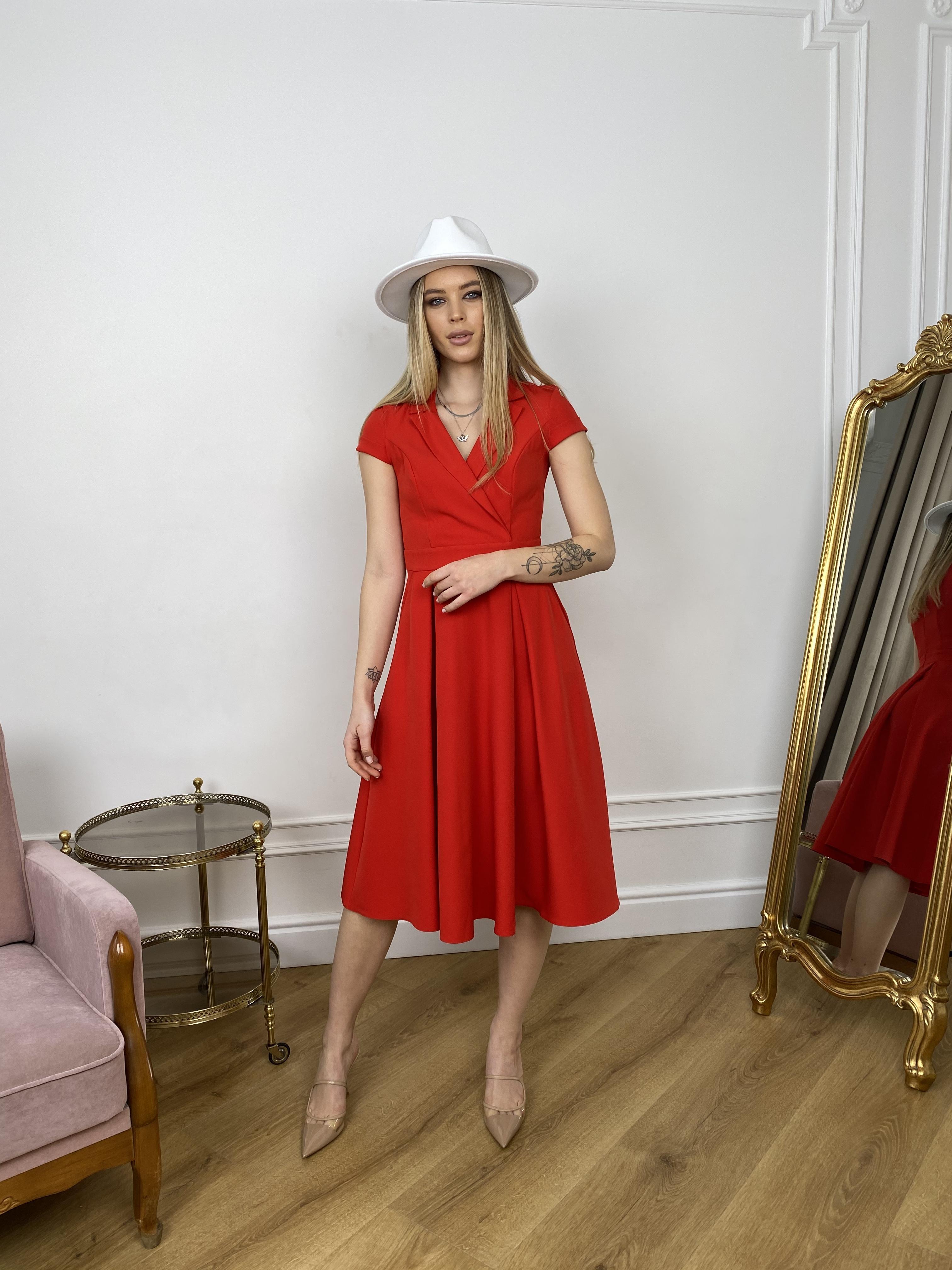 Артего платье из костюмной ткани 7441 АРТ. 43416 Цвет: Красный - фото 1, интернет магазин tm-modus.ru
