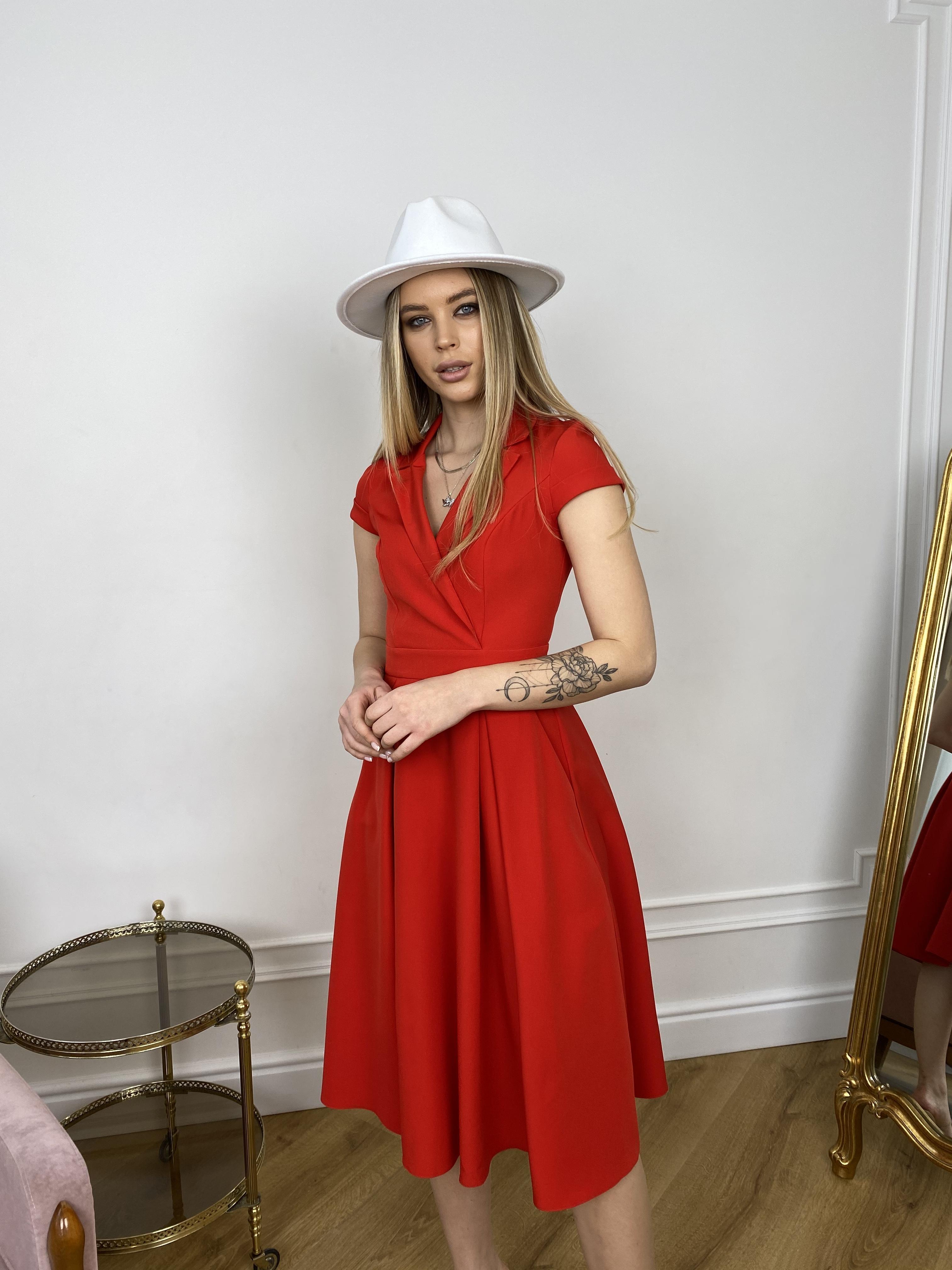 Артего платье из костюмной ткани 7441 АРТ. 43416 Цвет: Красный - фото 2, интернет магазин tm-modus.ru