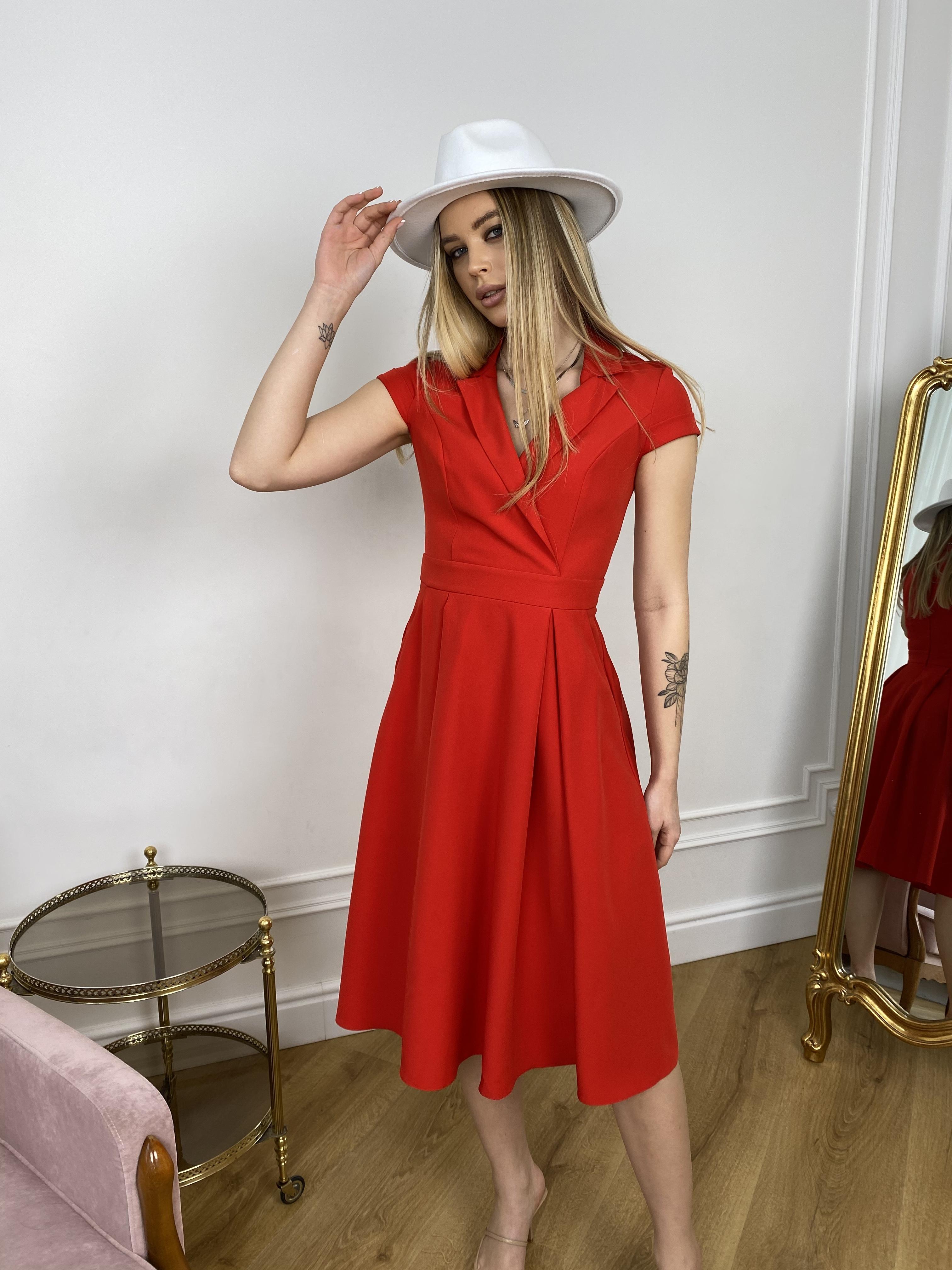 Артего платье из костюмной ткани 7441 АРТ. 43416 Цвет: Красный - фото 3, интернет магазин tm-modus.ru