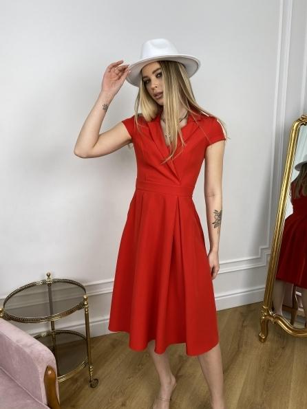 Артего платье из костюмной ткани 7441 Цвет: Красный