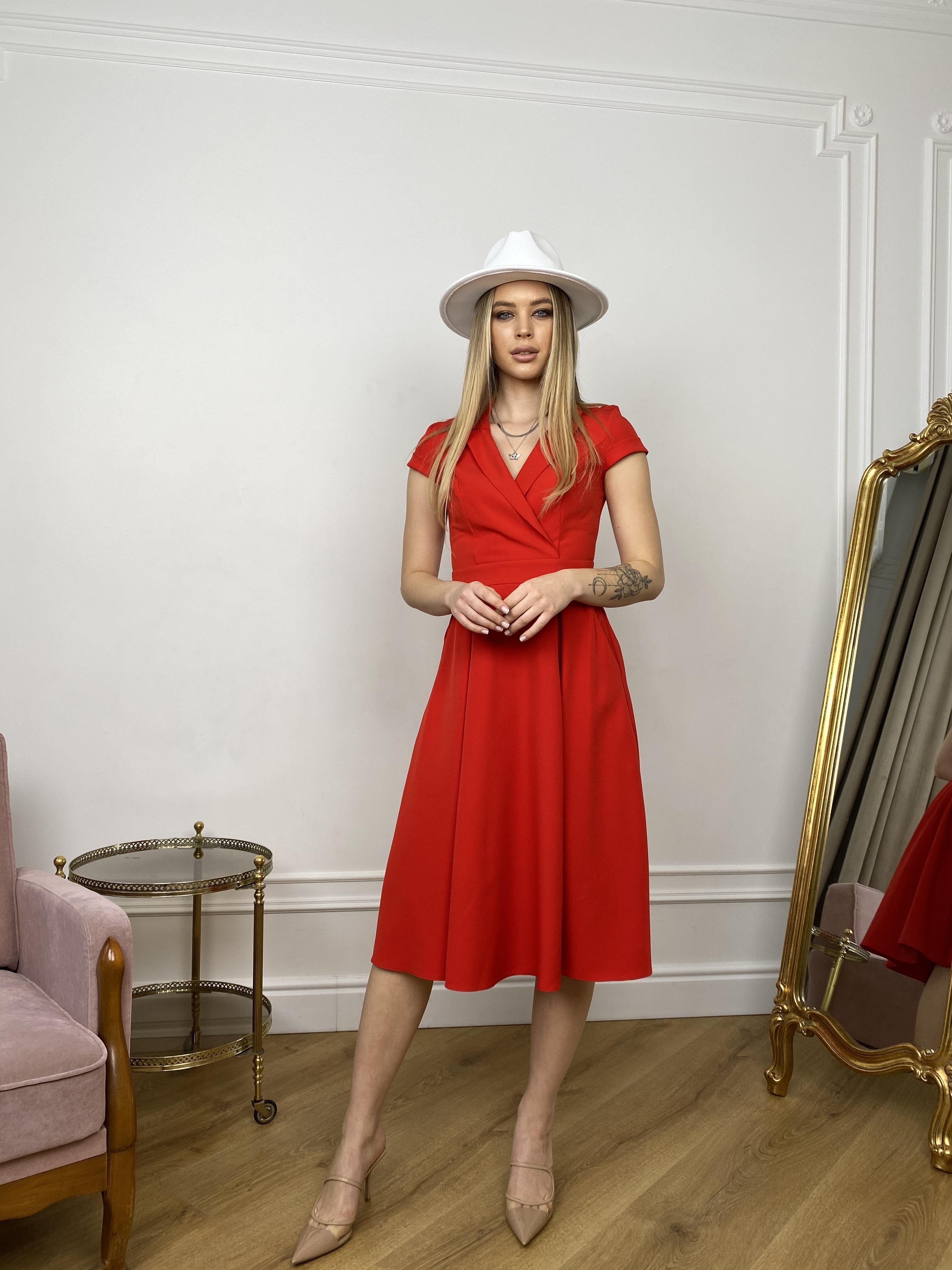 Артего платье из костюмной ткани 7441 АРТ. 43416 Цвет: Красный - фото 5, интернет магазин tm-modus.ru