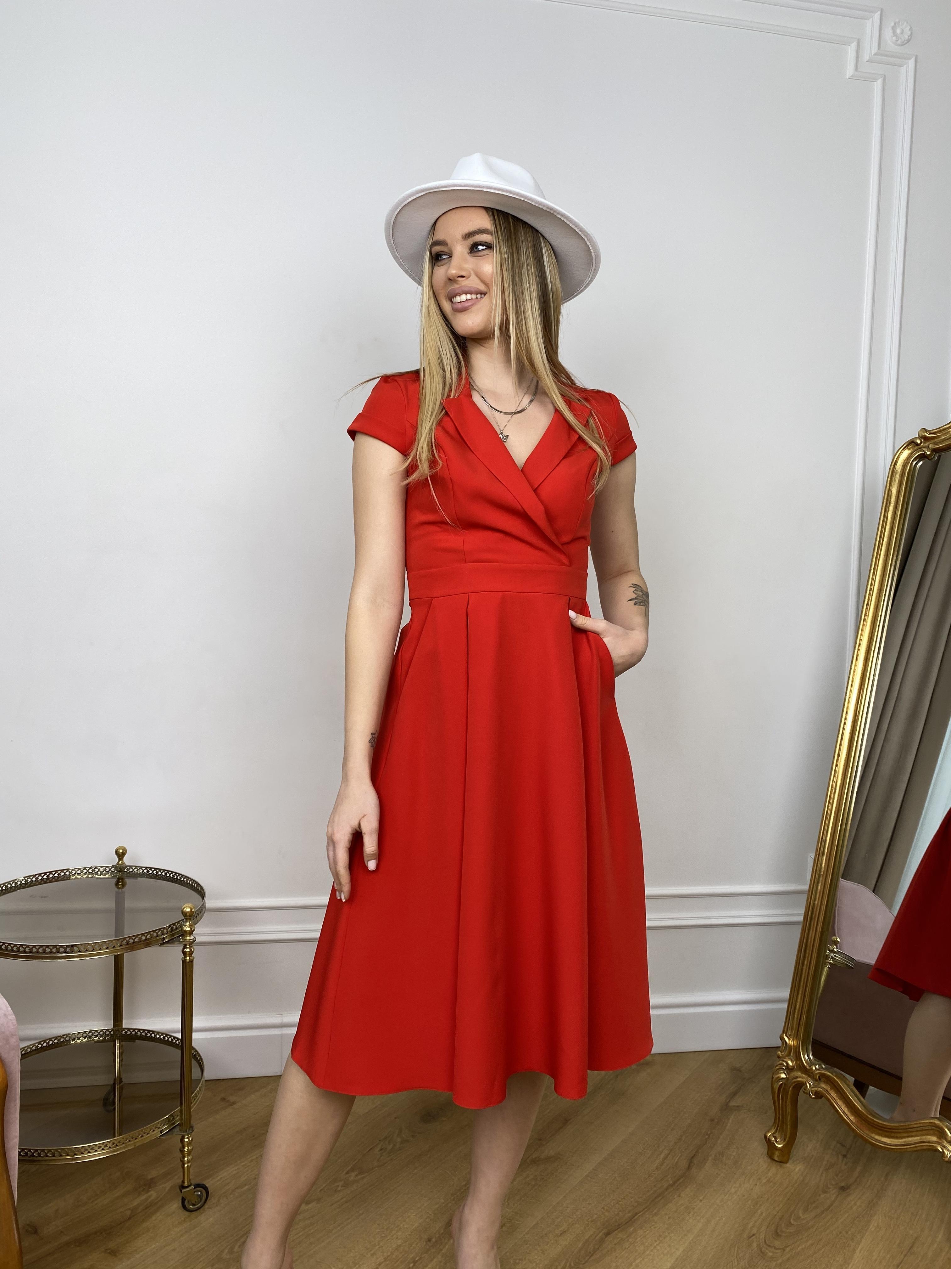 Артего платье из костюмной ткани 7441 АРТ. 43416 Цвет: Красный - фото 6, интернет магазин tm-modus.ru