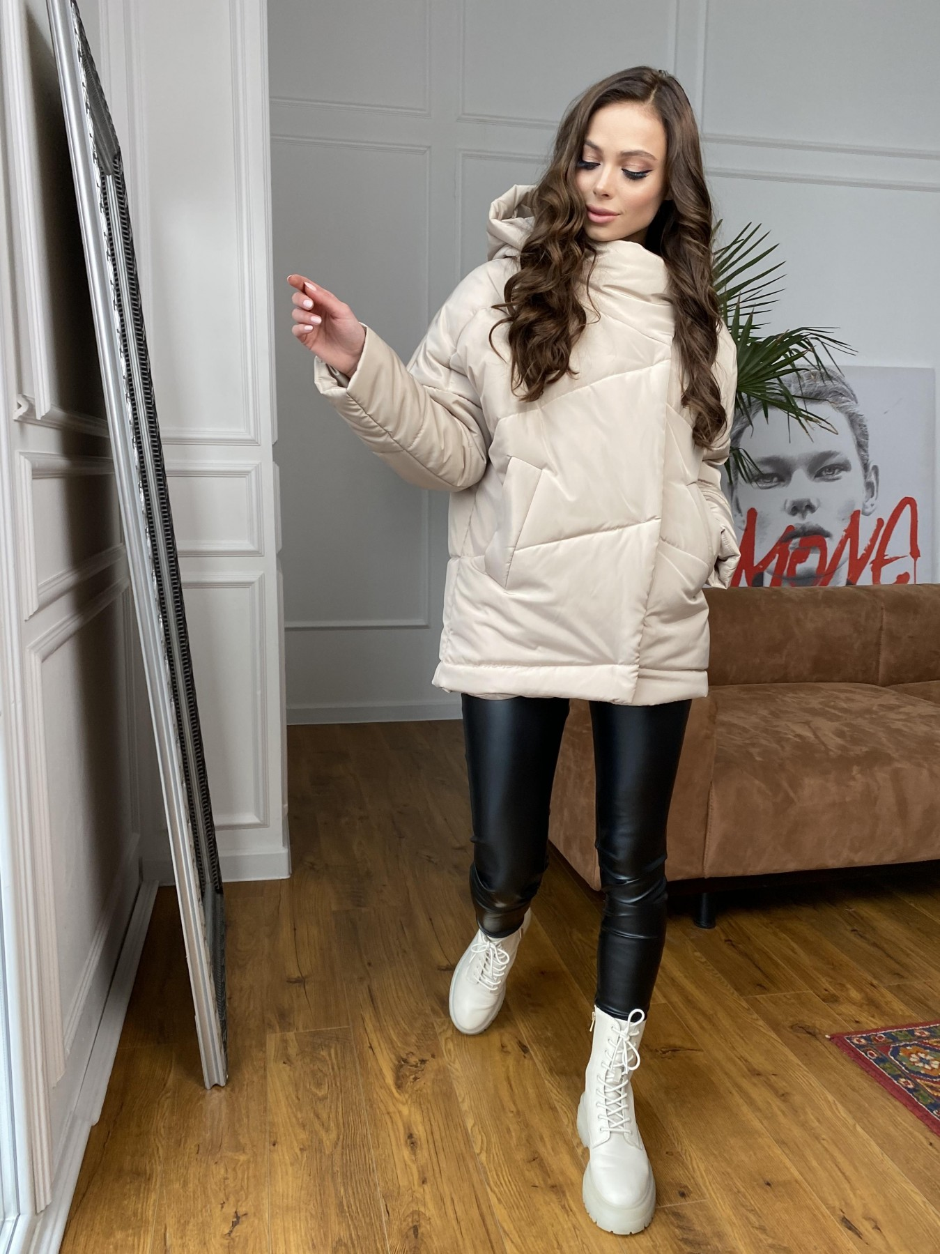 Уно куртка плащевка Ammy 10671 АРТ. 47476 Цвет: Бежевый - фото 7, интернет магазин tm-modus.ru