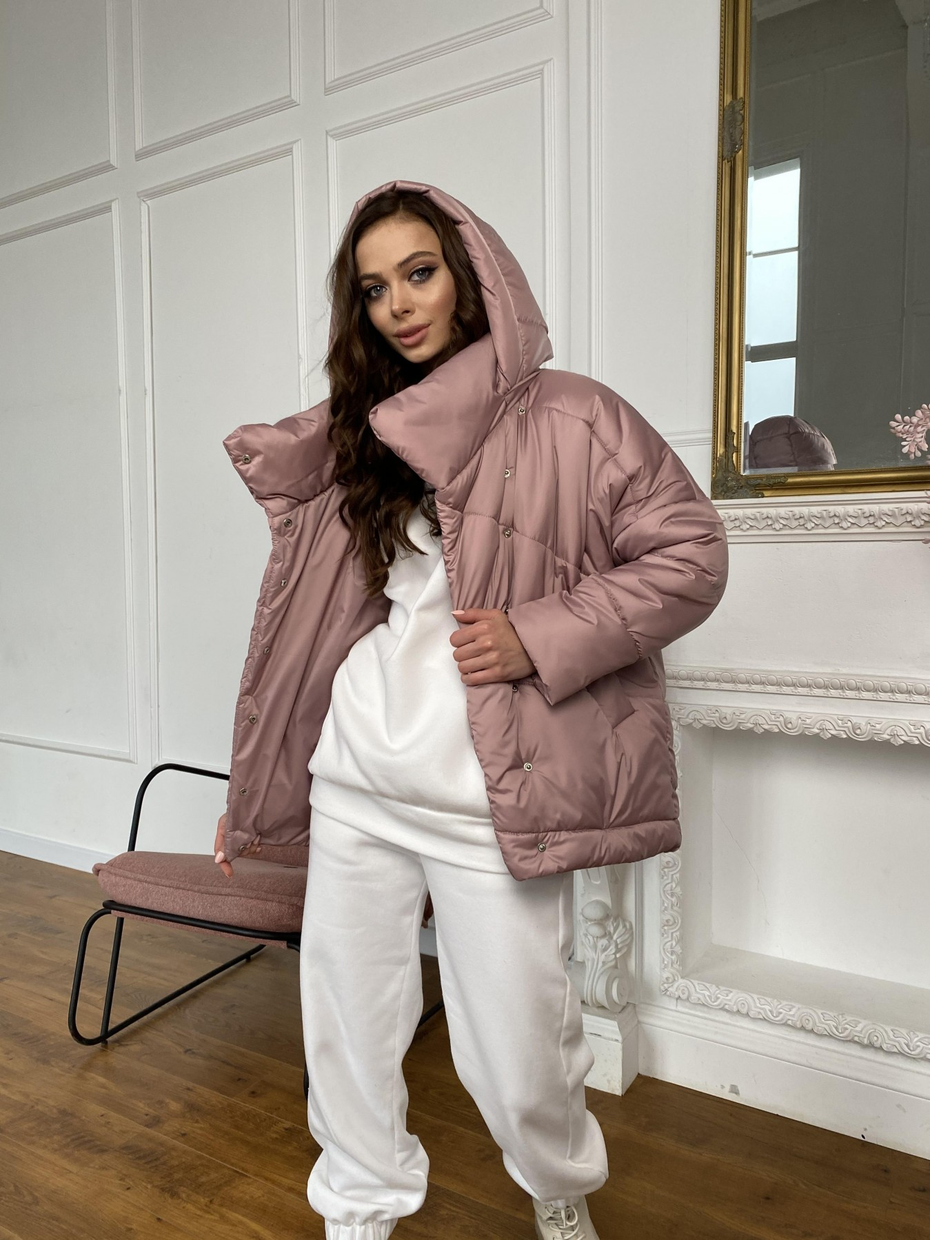 Уно куртка плащевка Ammy 10671 АРТ. 47409 Цвет: Пудра - фото 6, интернет магазин tm-modus.ru