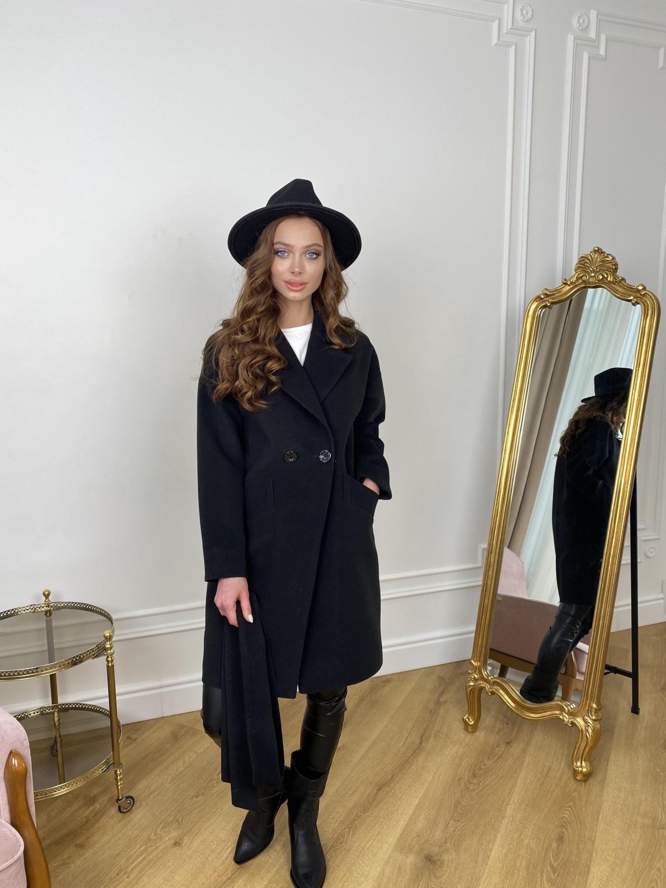 Сенсей пальто  из гладкого кашемира 10905 АРТ. 47370 Цвет: Черный - фото 1, интернет магазин tm-modus.ru