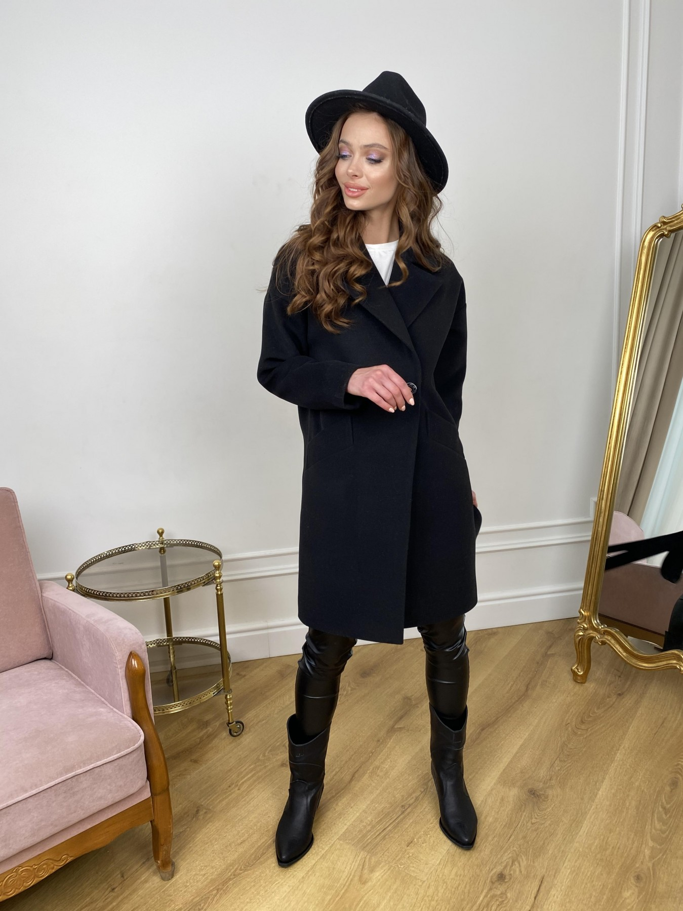 Сенсей пальто  из гладкого кашемира 10905 АРТ. 47370 Цвет: Черный - фото 2, интернет магазин tm-modus.ru