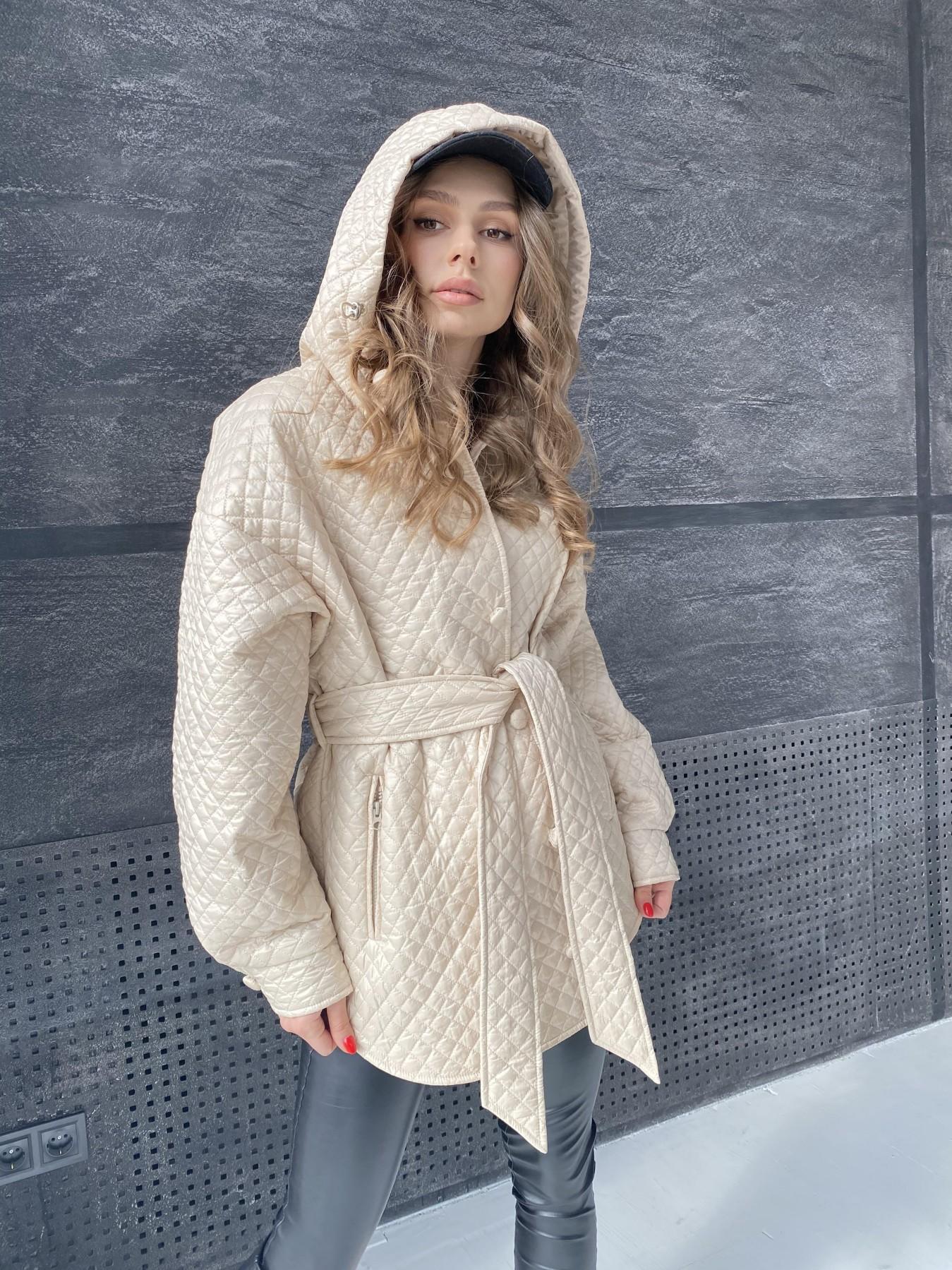 Пазл стеганая куртка из плащевой ткани  10933 АРТ. 47514 Цвет: Бежевый - фото 5, интернет магазин tm-modus.ru