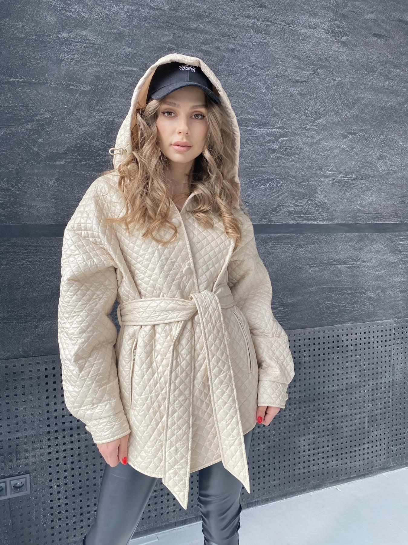 Пазл стеганая куртка из плащевой ткани  10933 АРТ. 47514 Цвет: Бежевый - фото 6, интернет магазин tm-modus.ru