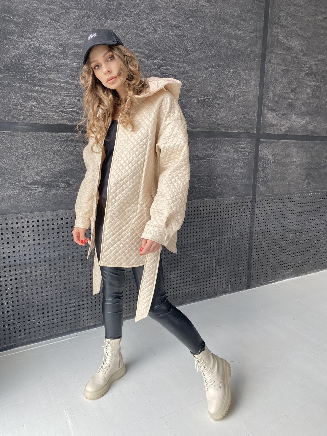 Пазл стеганая куртка из плащевой ткани  10933 АРТ. 47514 Цвет: Бежевый - фото 7, интернет магазин tm-modus.ru