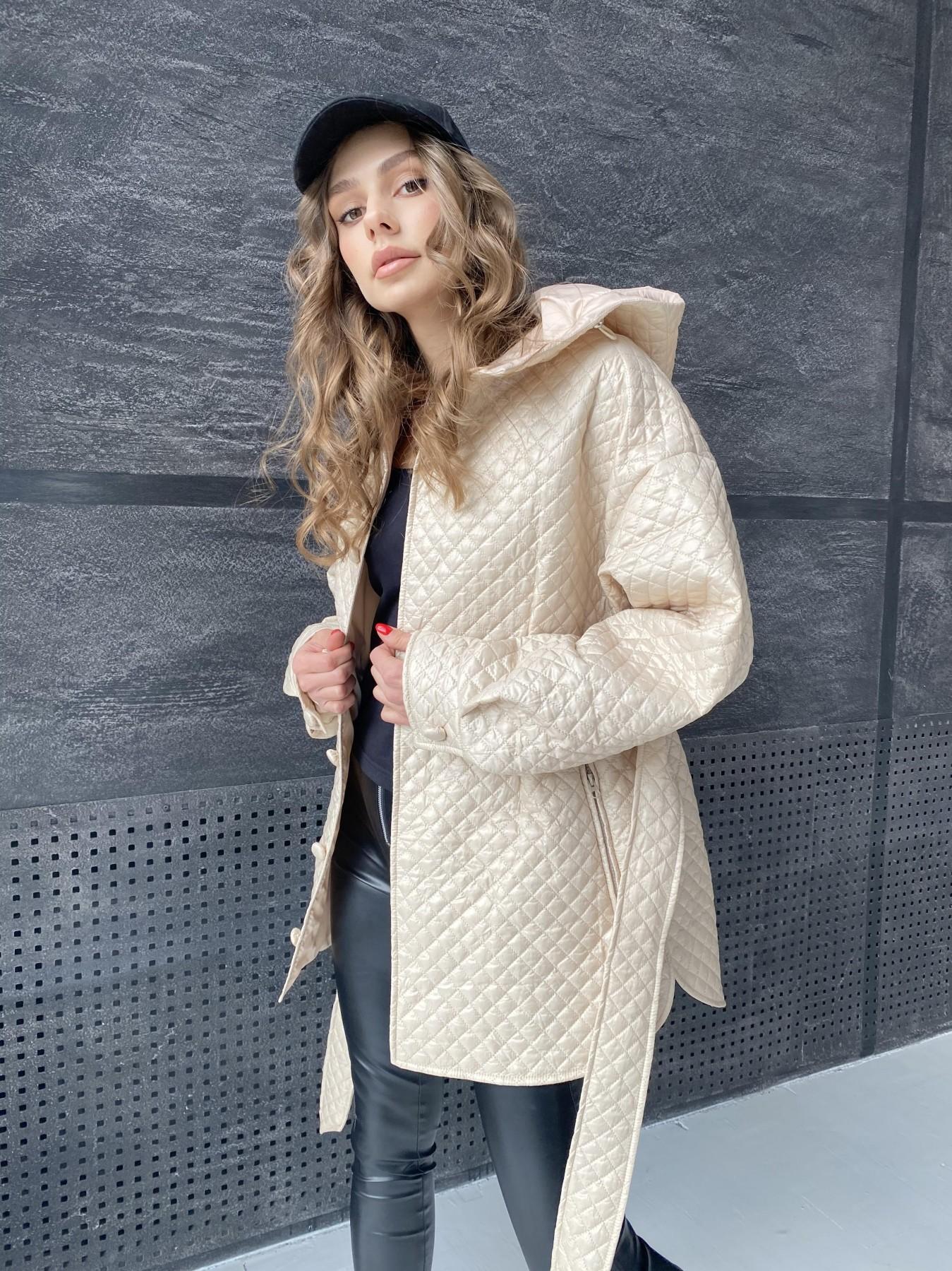 Пазл стеганая куртка из плащевой ткани  10933 АРТ. 47514 Цвет: Бежевый - фото 8, интернет магазин tm-modus.ru