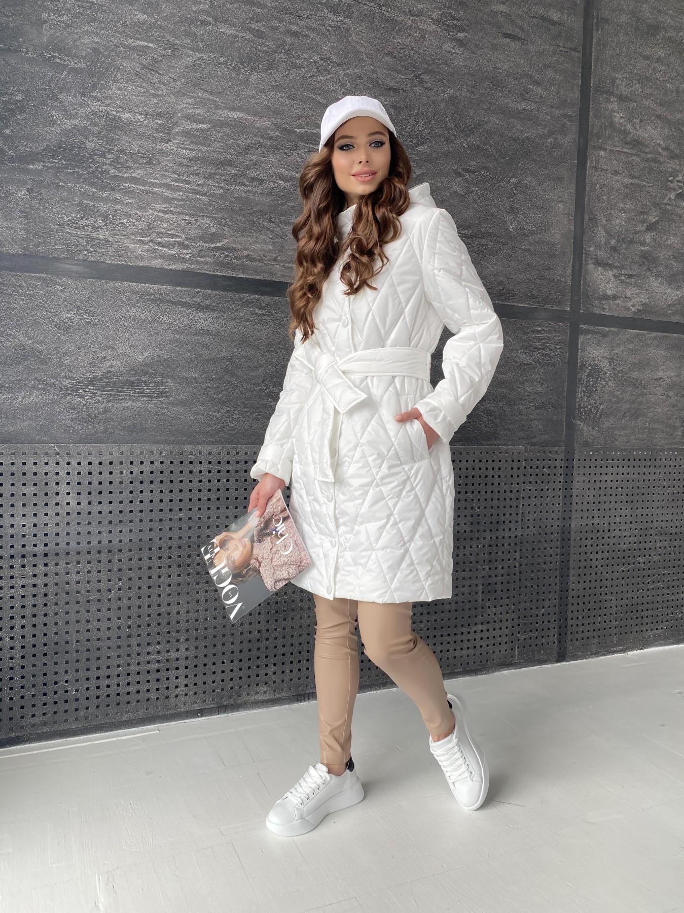Виза стеганая куртка из плащевой ткани 11015 АРТ. 47516 Цвет: Молоко - фото 3, интернет магазин tm-modus.ru