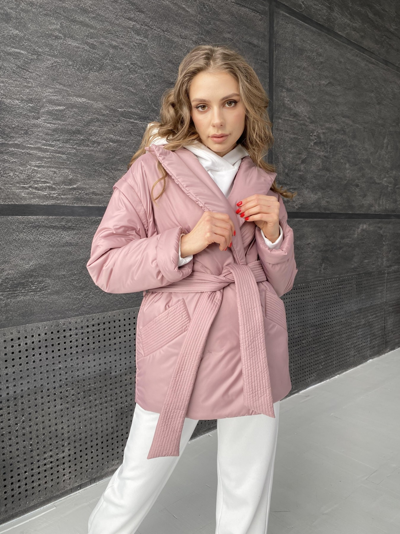Форбс куртка из плащевой ткани 10986 АРТ. 47477 Цвет: Пудра - фото 11, интернет магазин tm-modus.ru