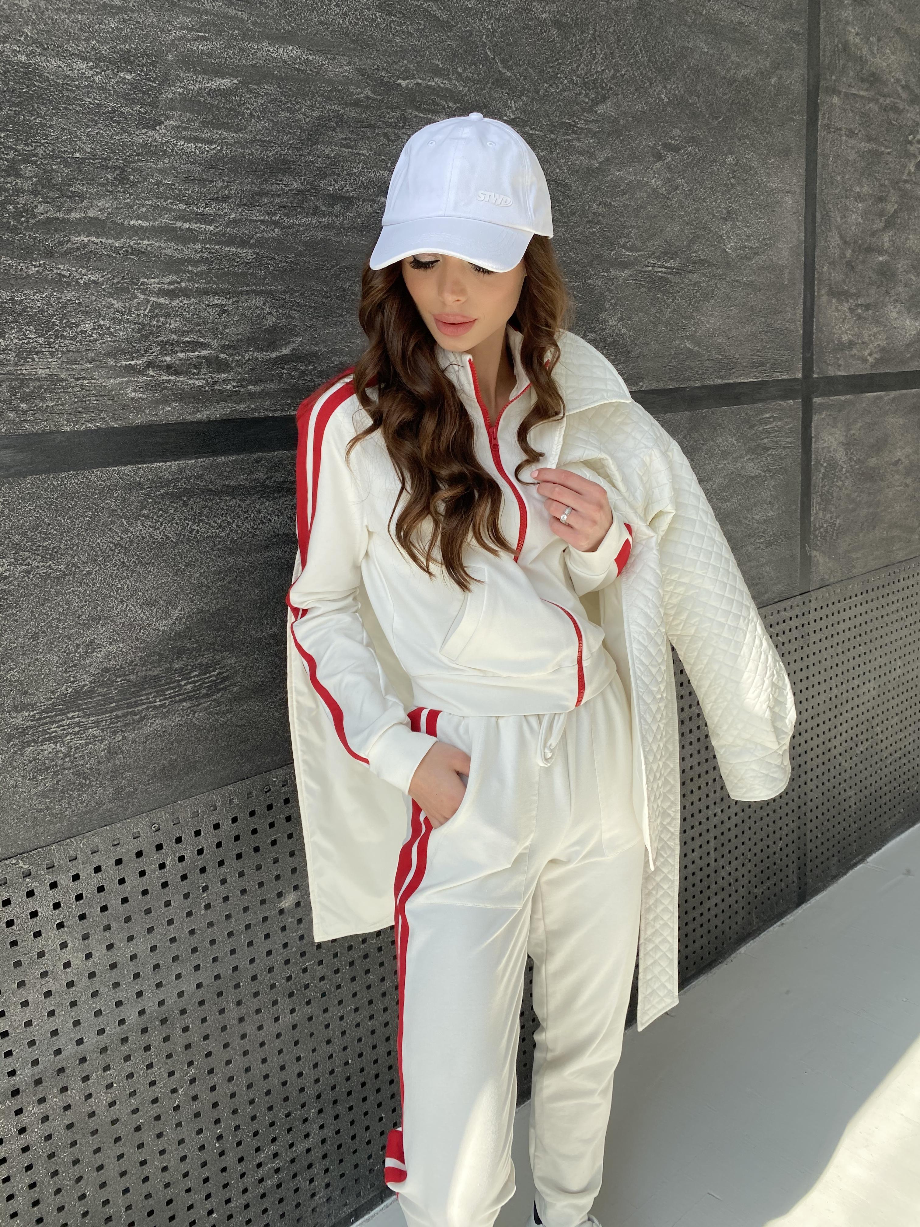 Камон костюм трикотажный из двунитки  9333 АРТ. 45761 Цвет: Молоко/красный - фото 2, интернет магазин tm-modus.ru