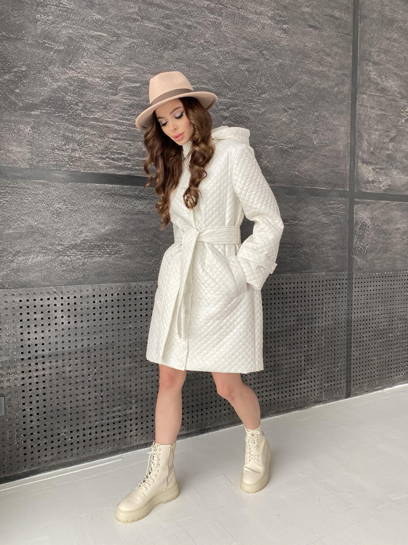 Виза стеганая куртка в мелкую стежку из плащевой ткани 11017 АРТ. 47518 Цвет: Молоко - фото 5, интернет магазин tm-modus.ru