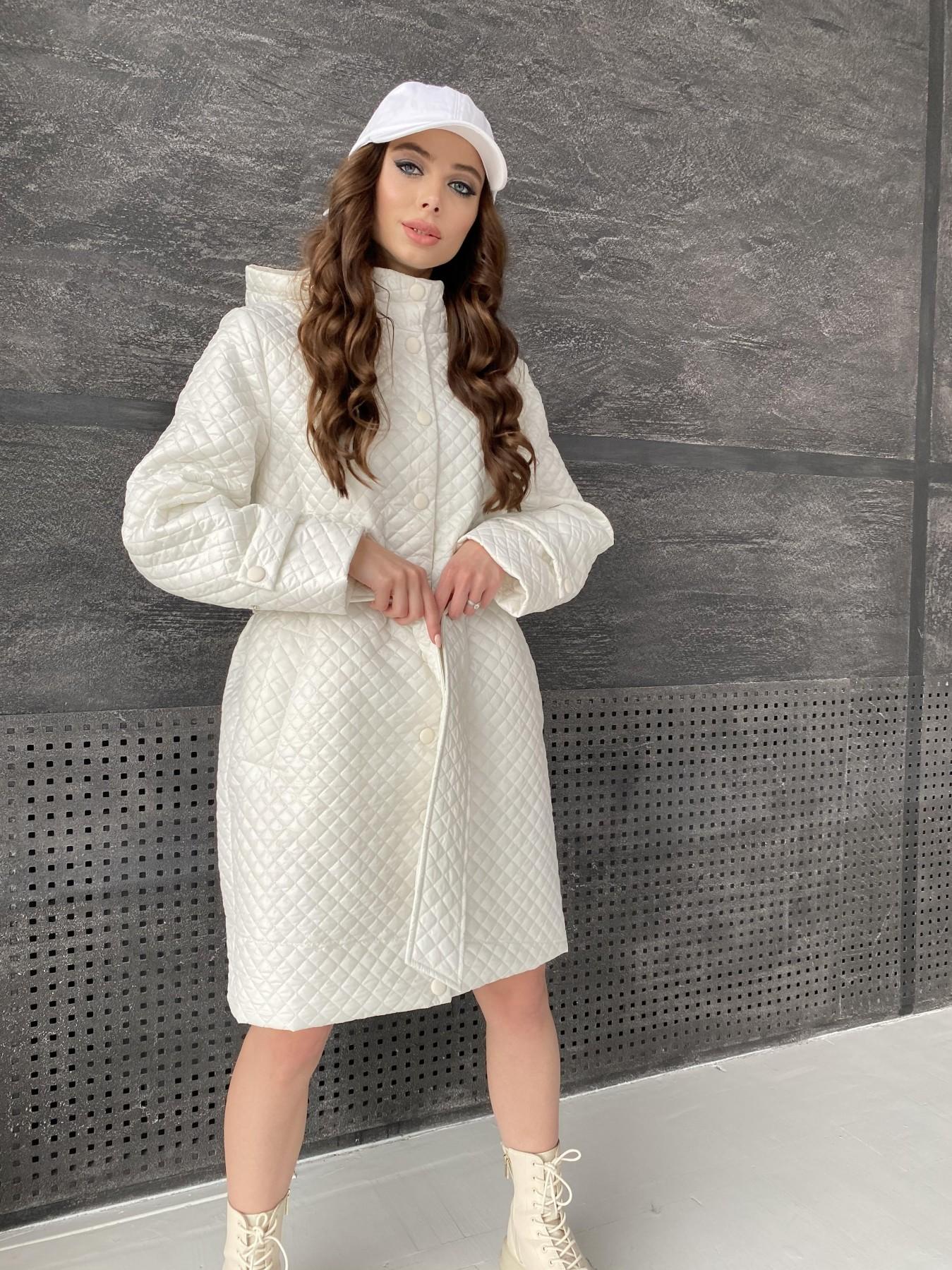 Виза стеганая куртка в мелкую стежку из плащевой ткани 11017 АРТ. 47518 Цвет: Молоко - фото 12, интернет магазин tm-modus.ru