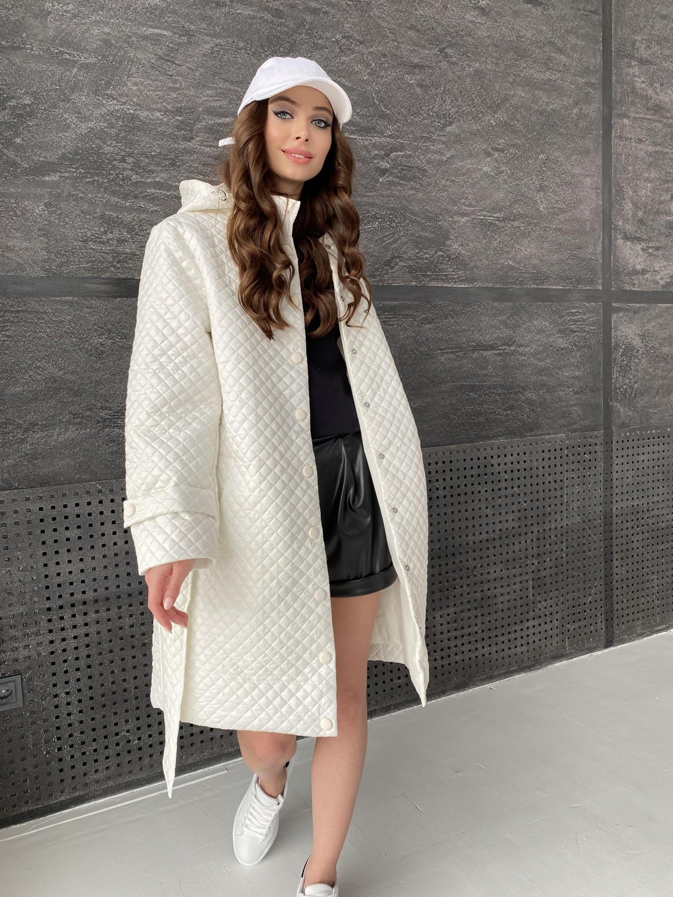 Виза стеганая куртка в мелкую стежку из плащевой ткани 11017 АРТ. 47518 Цвет: Молоко - фото 14, интернет магазин tm-modus.ru