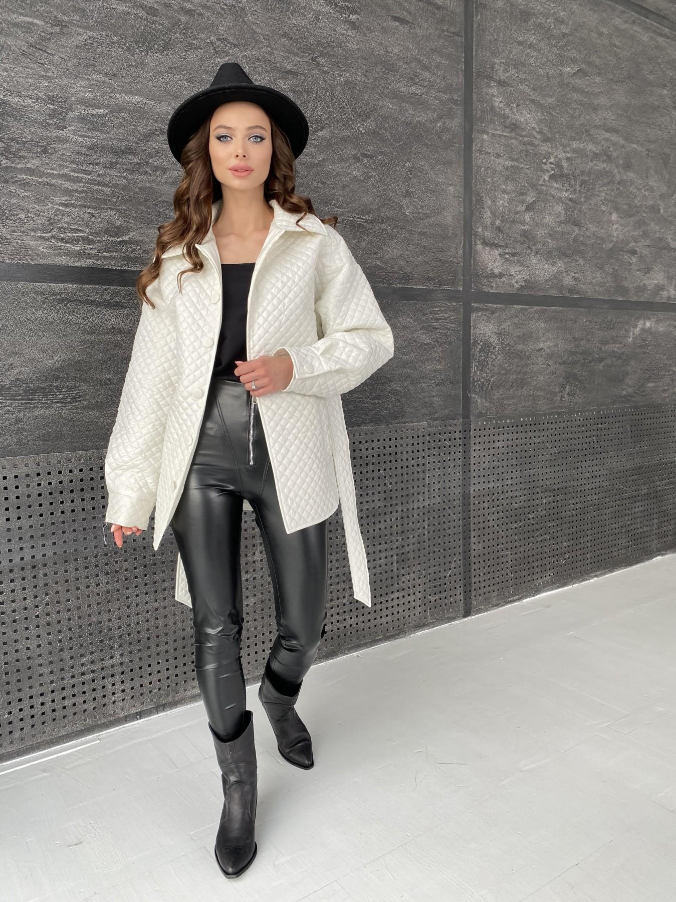 Моно куртка стеганая из  плащевой ткани 11045 АРТ. 47530 Цвет: Молоко - фото 1, интернет магазин tm-modus.ru