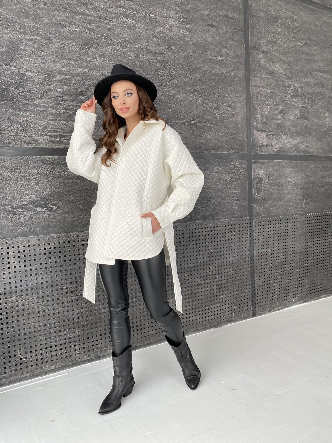 Моно куртка стеганая из  плащевой ткани 11045 АРТ. 47530 Цвет: Молоко - фото 2, интернет магазин tm-modus.ru