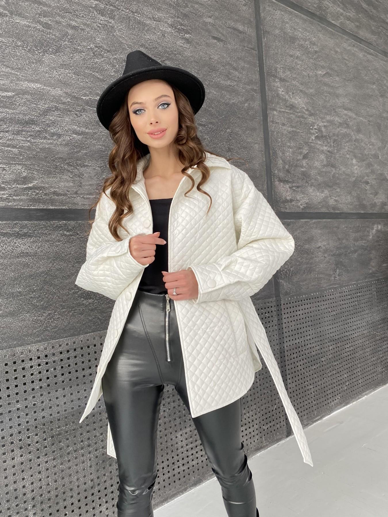 Моно куртка стеганая из  плащевой ткани 11045 АРТ. 47530 Цвет: Молоко - фото 3, интернет магазин tm-modus.ru