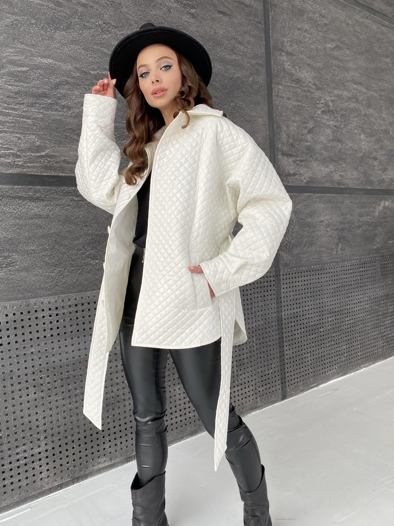 Моно куртка стеганая из  плащевой ткани 11045 АРТ. 47530 Цвет: Молоко - фото 4, интернет магазин tm-modus.ru