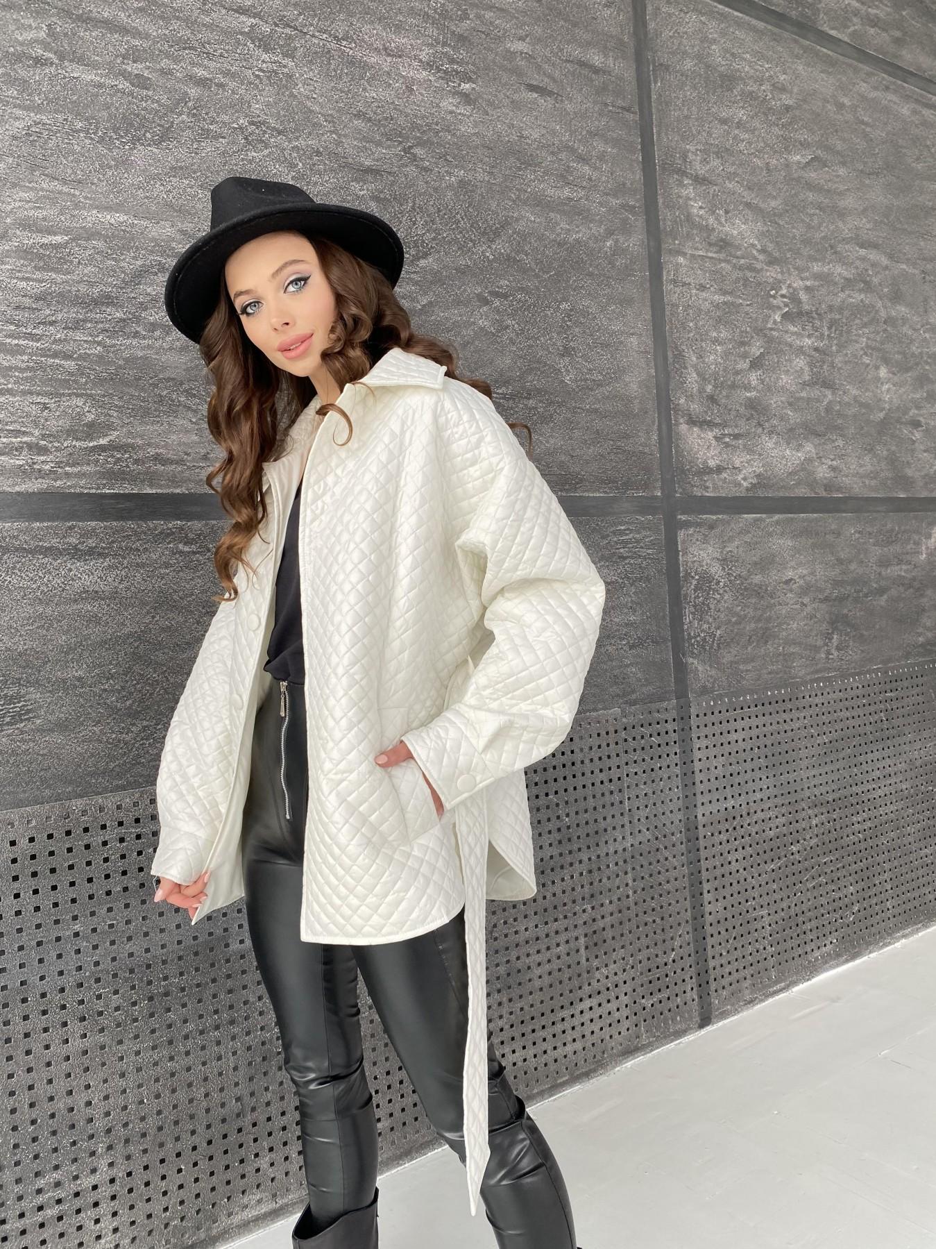Моно куртка стеганая из  плащевой ткани 11045 АРТ. 47530 Цвет: Молоко - фото 5, интернет магазин tm-modus.ru