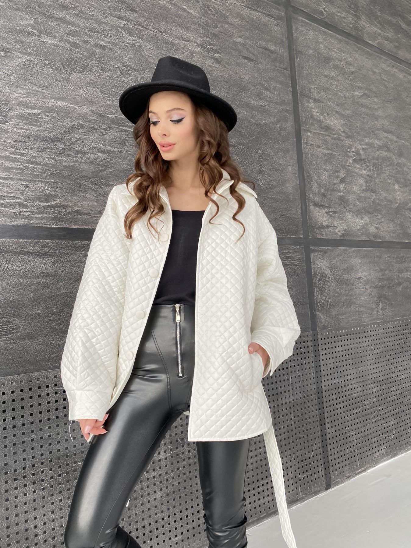 Моно куртка стеганая из  плащевой ткани 11045 АРТ. 47530 Цвет: Молоко - фото 6, интернет магазин tm-modus.ru