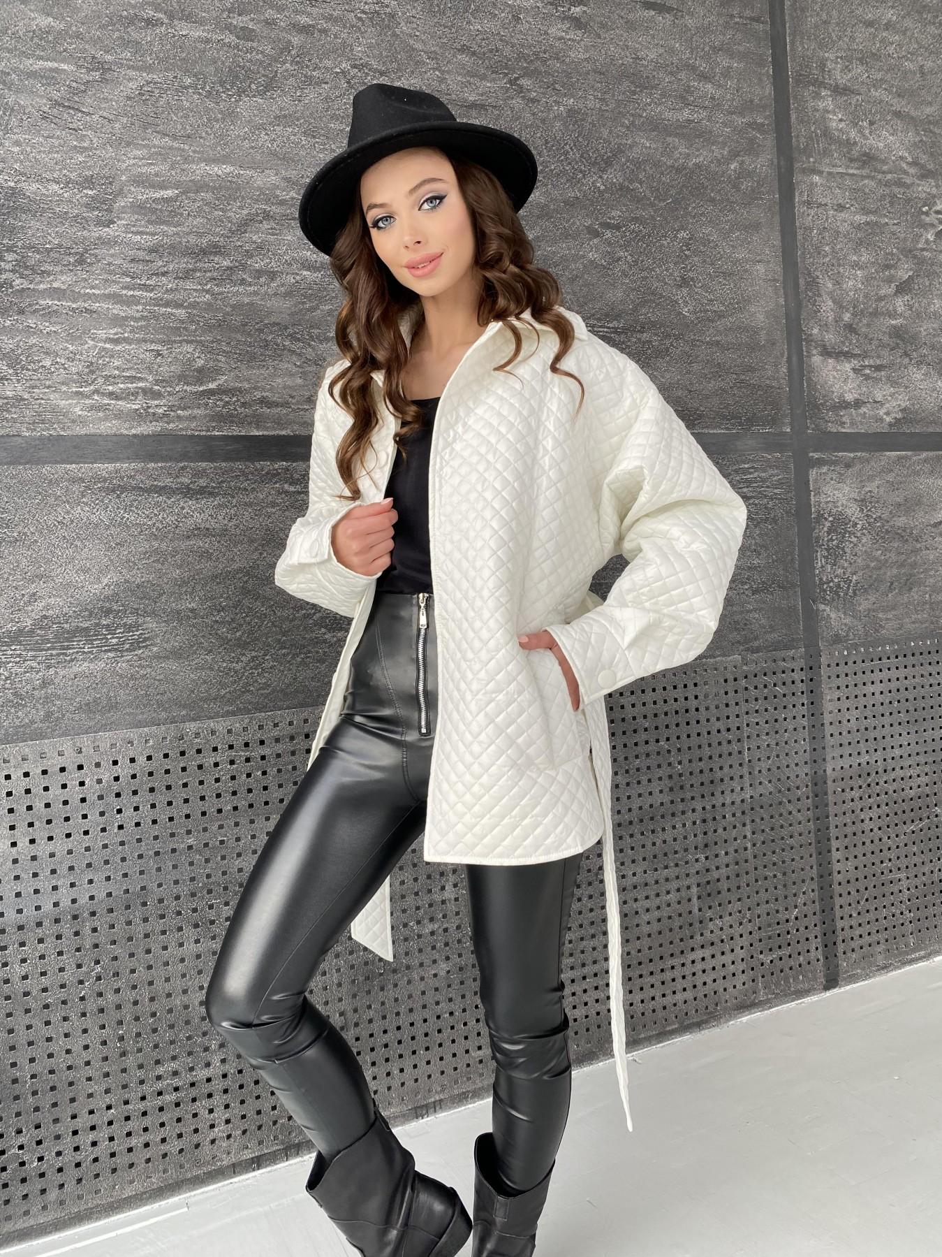 Моно куртка стеганая из  плащевой ткани 11045 АРТ. 47530 Цвет: Молоко - фото 8, интернет магазин tm-modus.ru