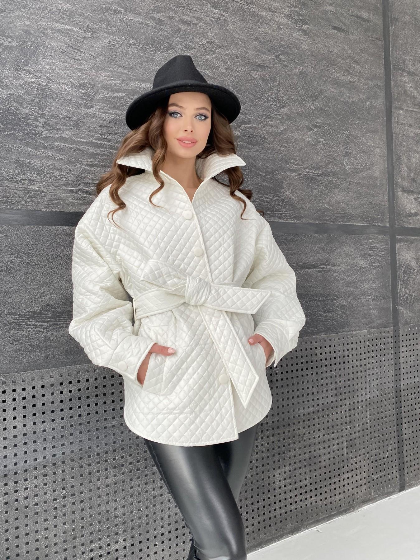 Моно куртка стеганая из  плащевой ткани 11045 АРТ. 47530 Цвет: Молоко - фото 10, интернет магазин tm-modus.ru