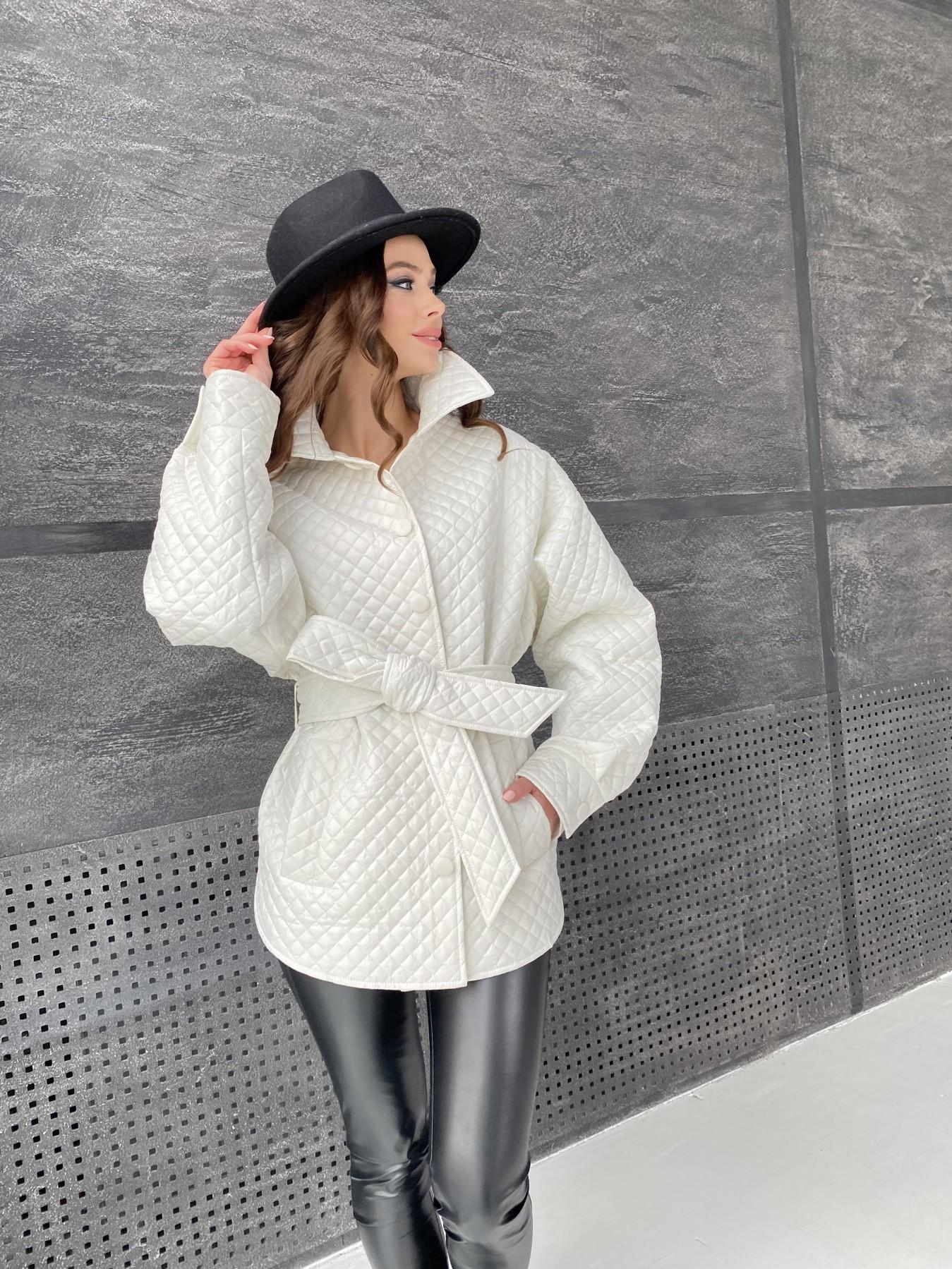 Моно куртка стеганая из  плащевой ткани 11045 АРТ. 47530 Цвет: Молоко - фото 11, интернет магазин tm-modus.ru