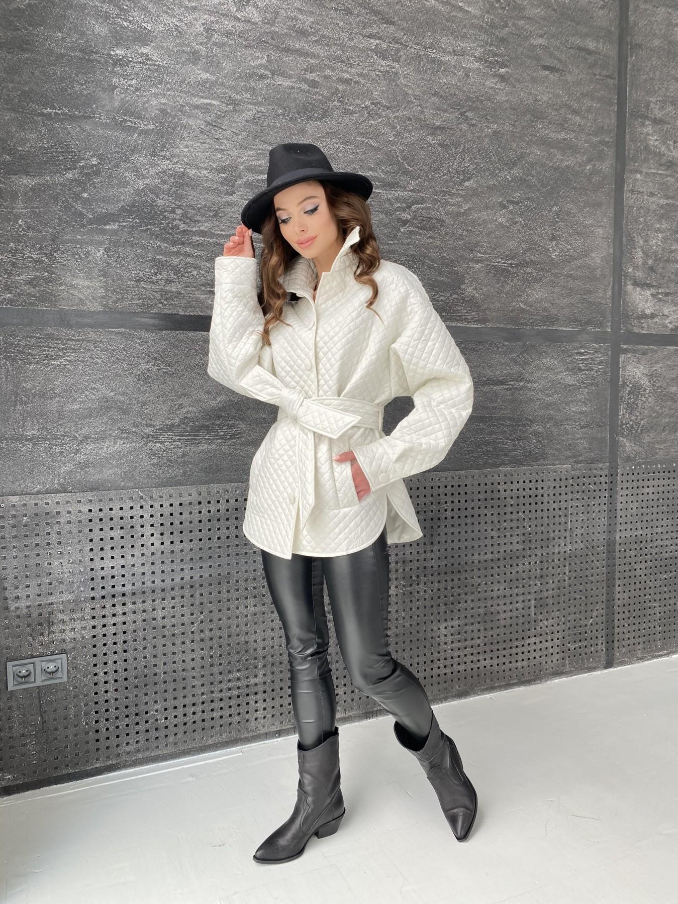 Моно куртка стеганая из  плащевой ткани 11045 АРТ. 47530 Цвет: Молоко - фото 12, интернет магазин tm-modus.ru