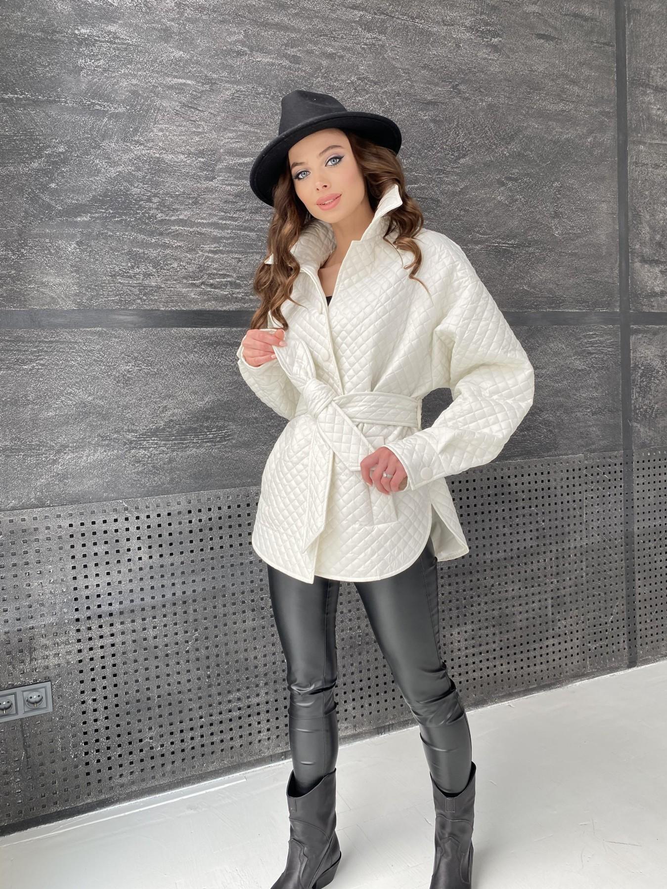 Моно куртка стеганая из  плащевой ткани 11045 АРТ. 47530 Цвет: Молоко - фото 14, интернет магазин tm-modus.ru