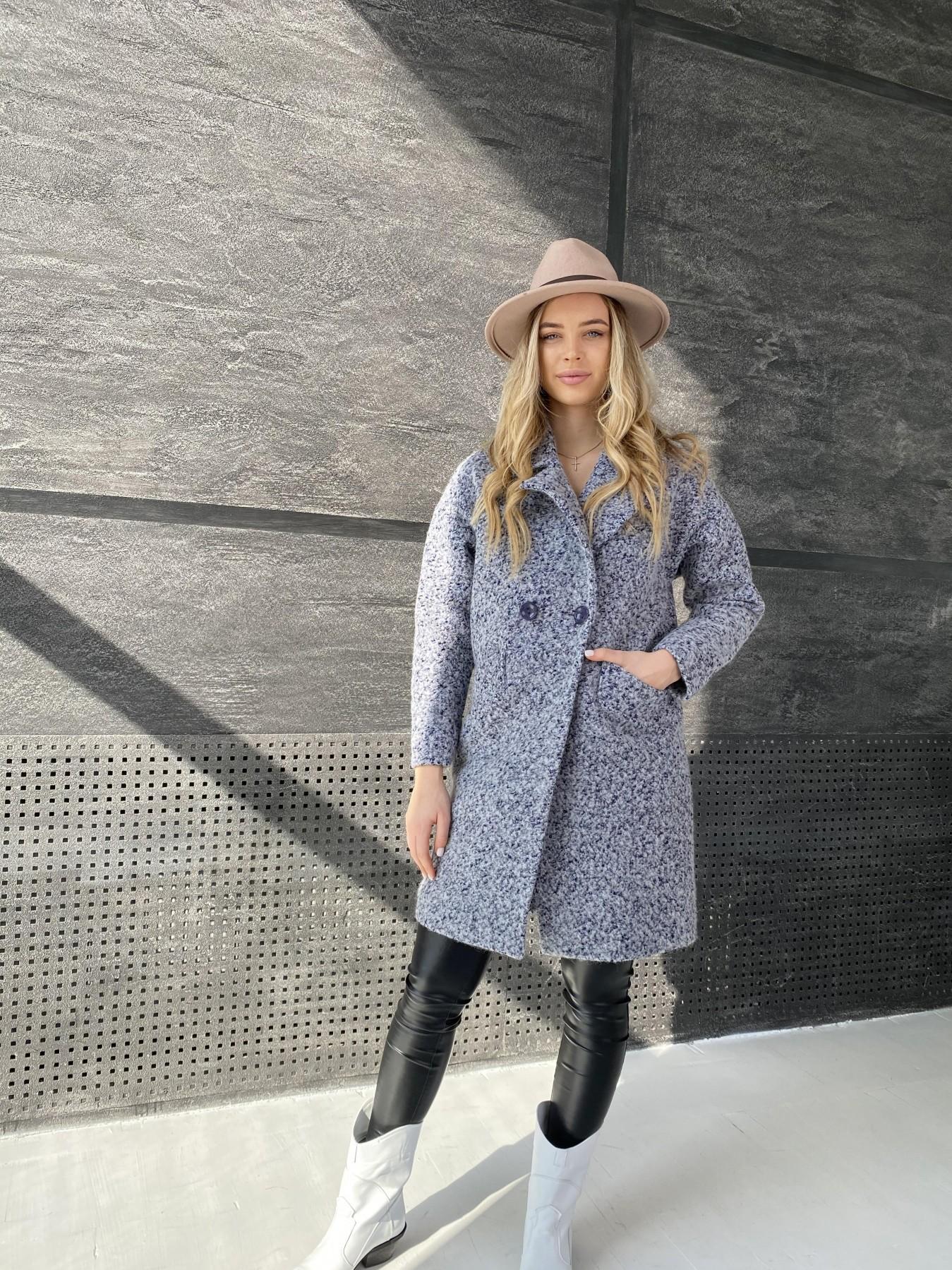 Сенсей пальто из шерсти букле 10780 АРТ. 47234 Цвет: Серо-голубой 60 - фото 1, интернет магазин tm-modus.ru