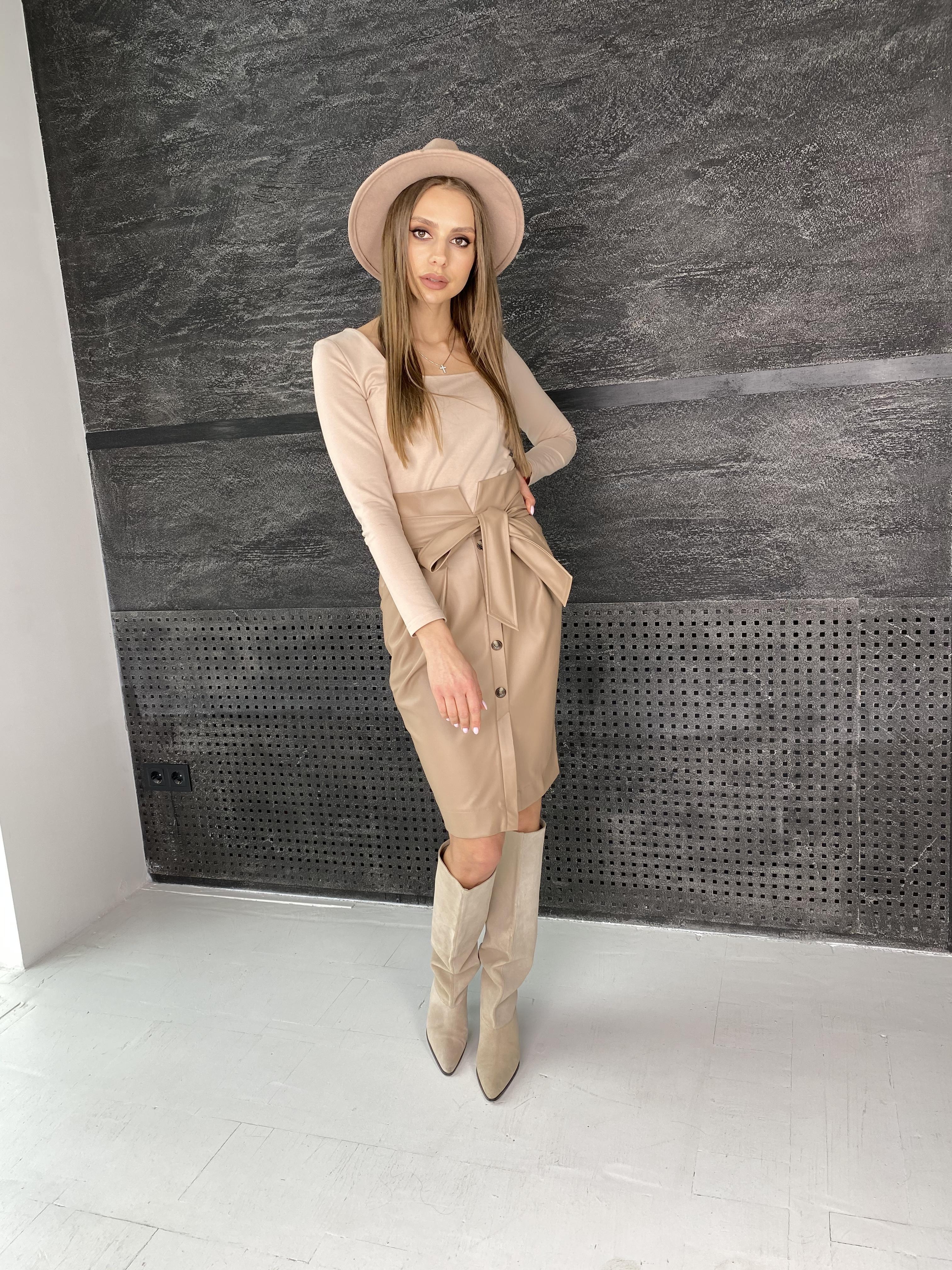 Марси юбка из экокожи 7913 АРТ. 46105 Цвет: Бежевый - фото 2, интернет магазин tm-modus.ru