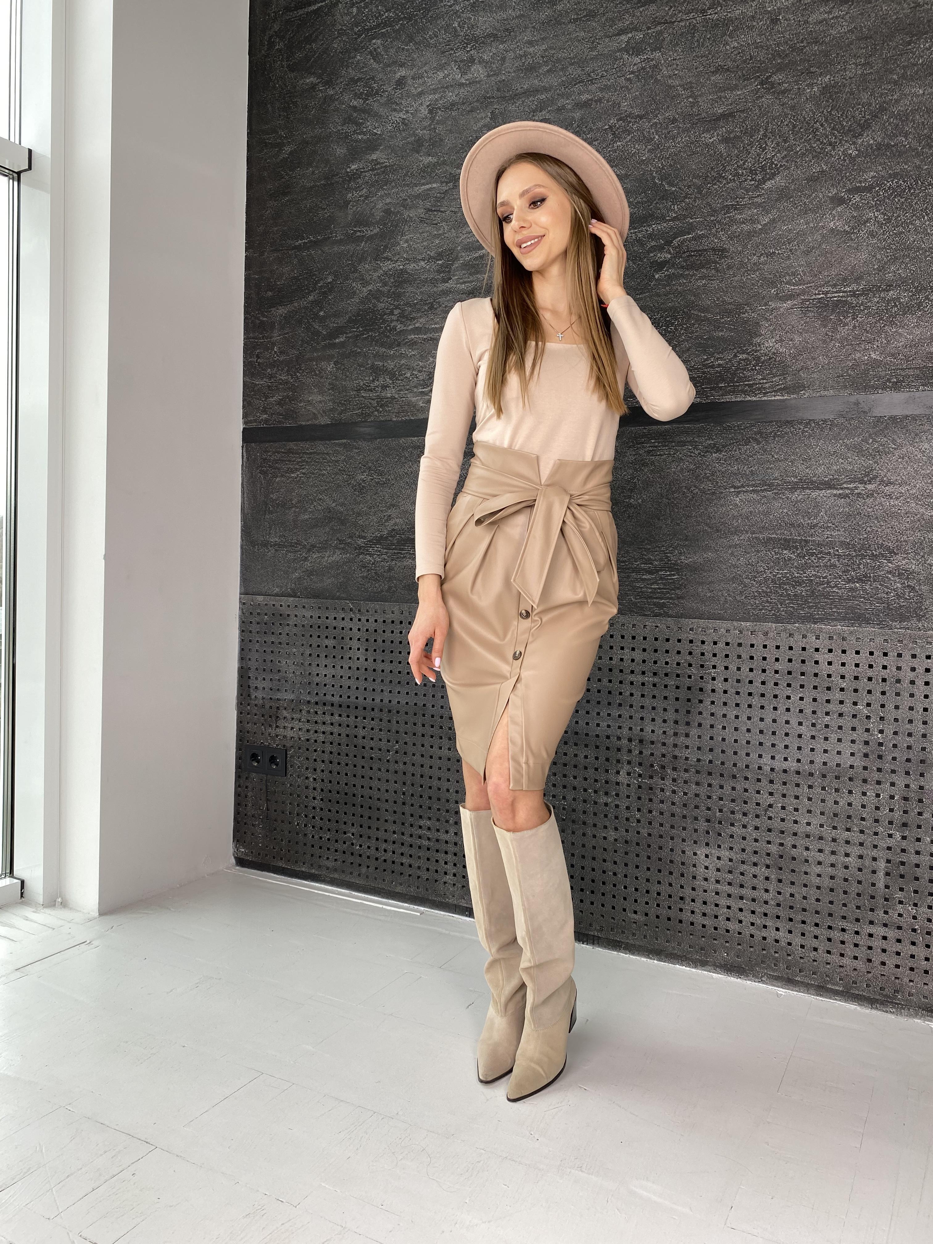 Марси юбка из экокожи 7913 АРТ. 46105 Цвет: Бежевый - фото 4, интернет магазин tm-modus.ru