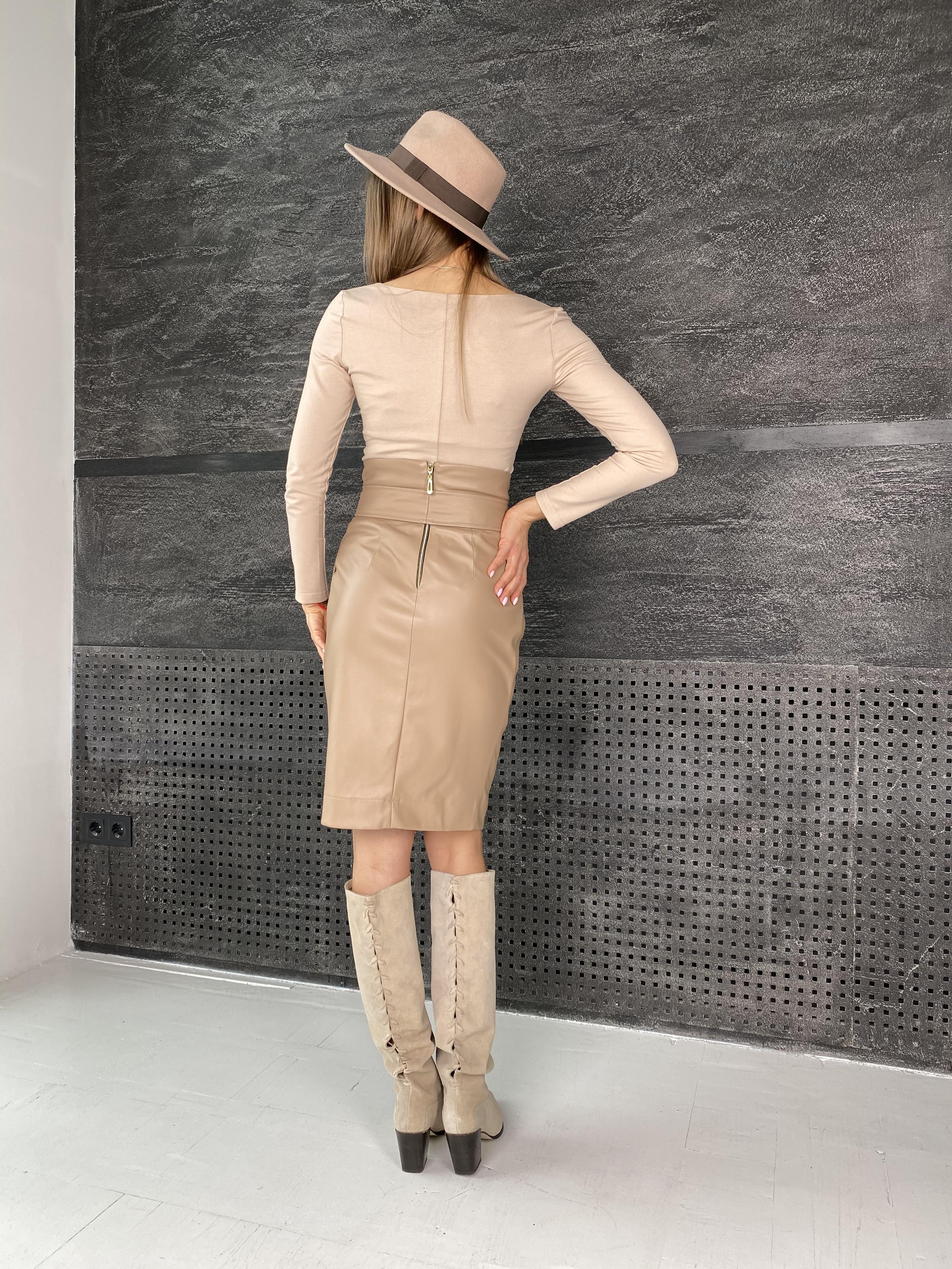 Марси юбка из экокожи 7913 АРТ. 46105 Цвет: Бежевый - фото 5, интернет магазин tm-modus.ru