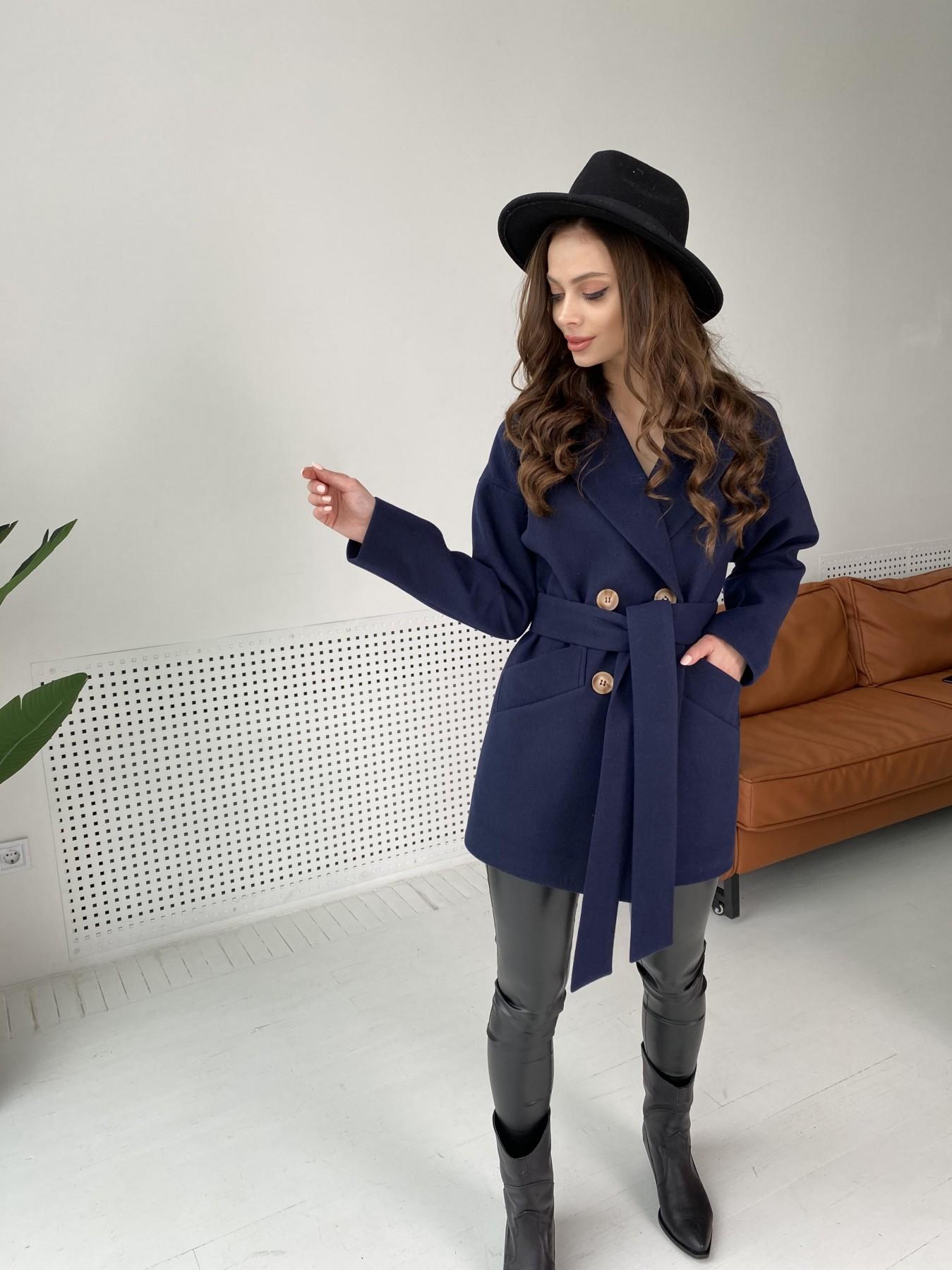 Бонд пальто из гладкого кашемира 10900 АРТ. 47454 Цвет: Темно синий - фото 1, интернет магазин tm-modus.ru