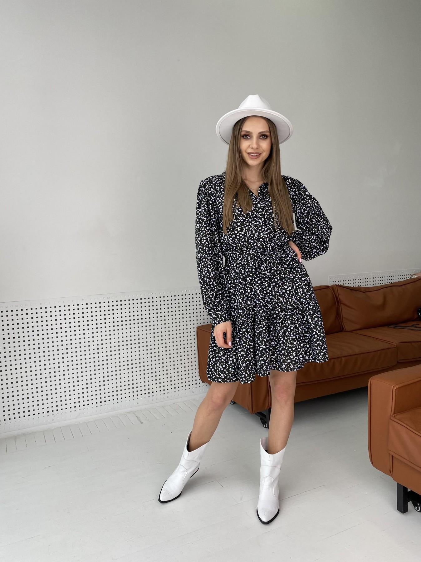 Молизе  платье штапель в мелкий цветочный принт 10948 АРТ. 47434 Цвет: Цветы мел черн/бел/гол - фото 1, интернет магазин tm-modus.ru