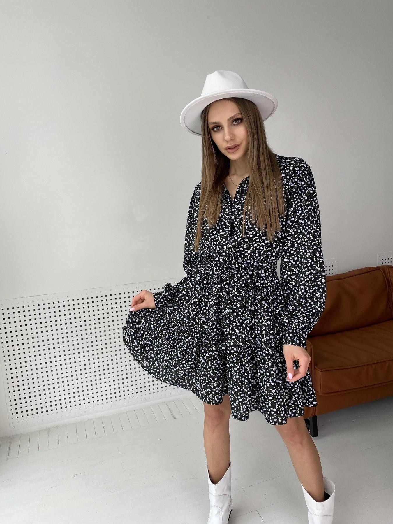 Молизе  платье штапель в мелкий цветочный принт 10948 АРТ. 47434 Цвет: Цветы мел черн/бел/гол - фото 2, интернет магазин tm-modus.ru
