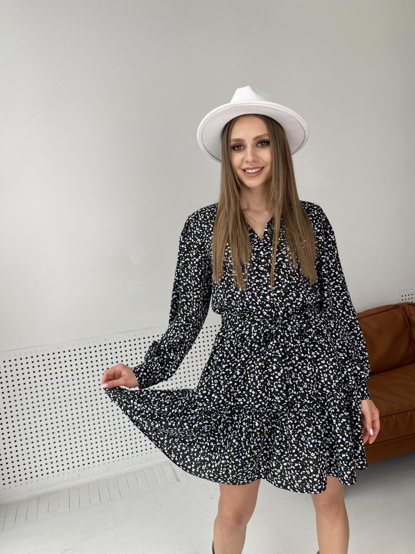 Молизе  платье штапель в мелкий цветочный принт 10948 АРТ. 47434 Цвет: Цветы мел черн/бел/гол - фото 3, интернет магазин tm-modus.ru