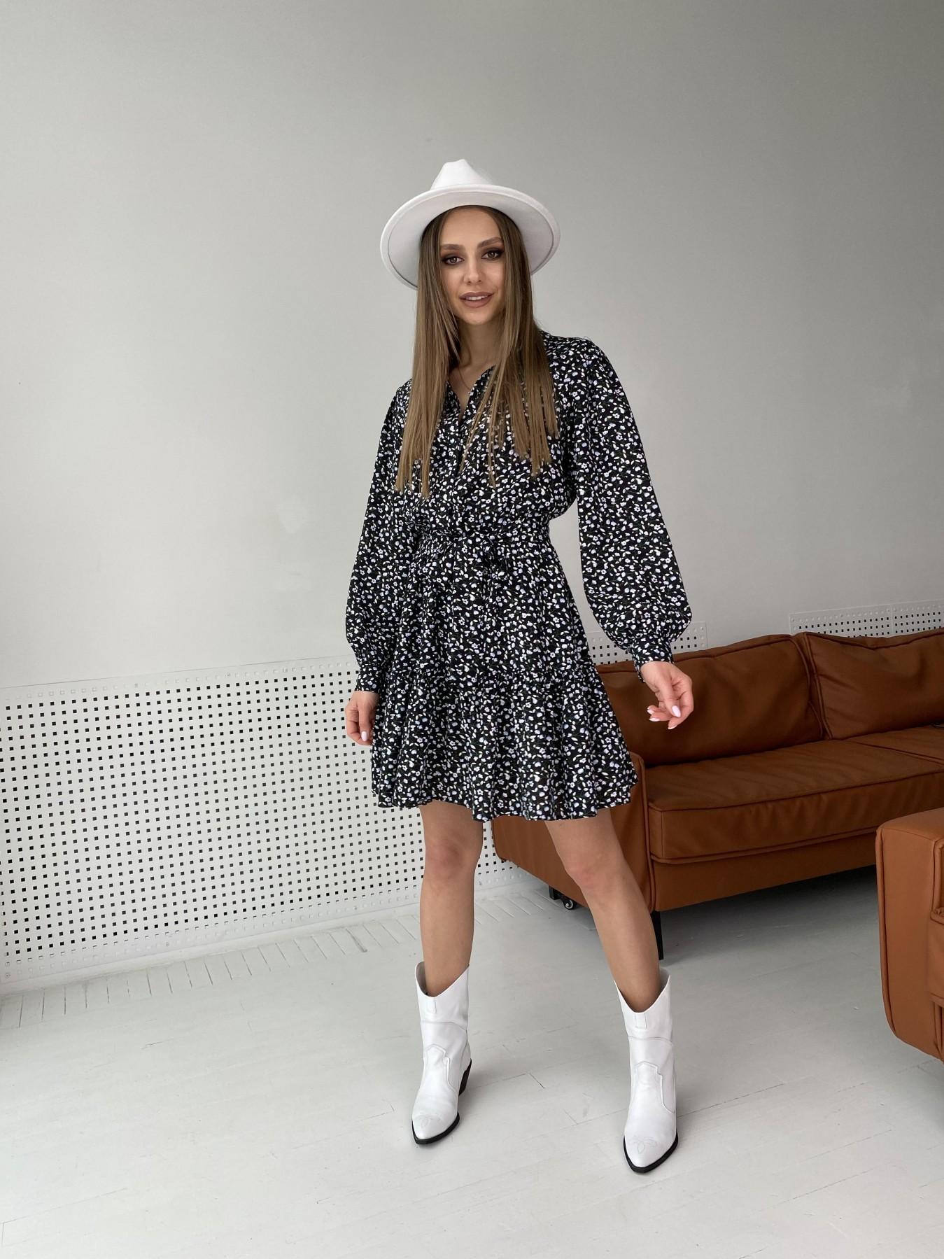Молизе  платье штапель в мелкий цветочный принт 10948 АРТ. 47434 Цвет: Цветы мел черн/бел/гол - фото 5, интернет магазин tm-modus.ru