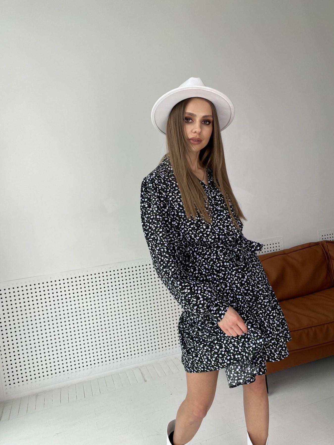 Молизе  платье штапель в мелкий цветочный принт 10948 АРТ. 47434 Цвет: Цветы мел черн/бел/гол - фото 7, интернет магазин tm-modus.ru